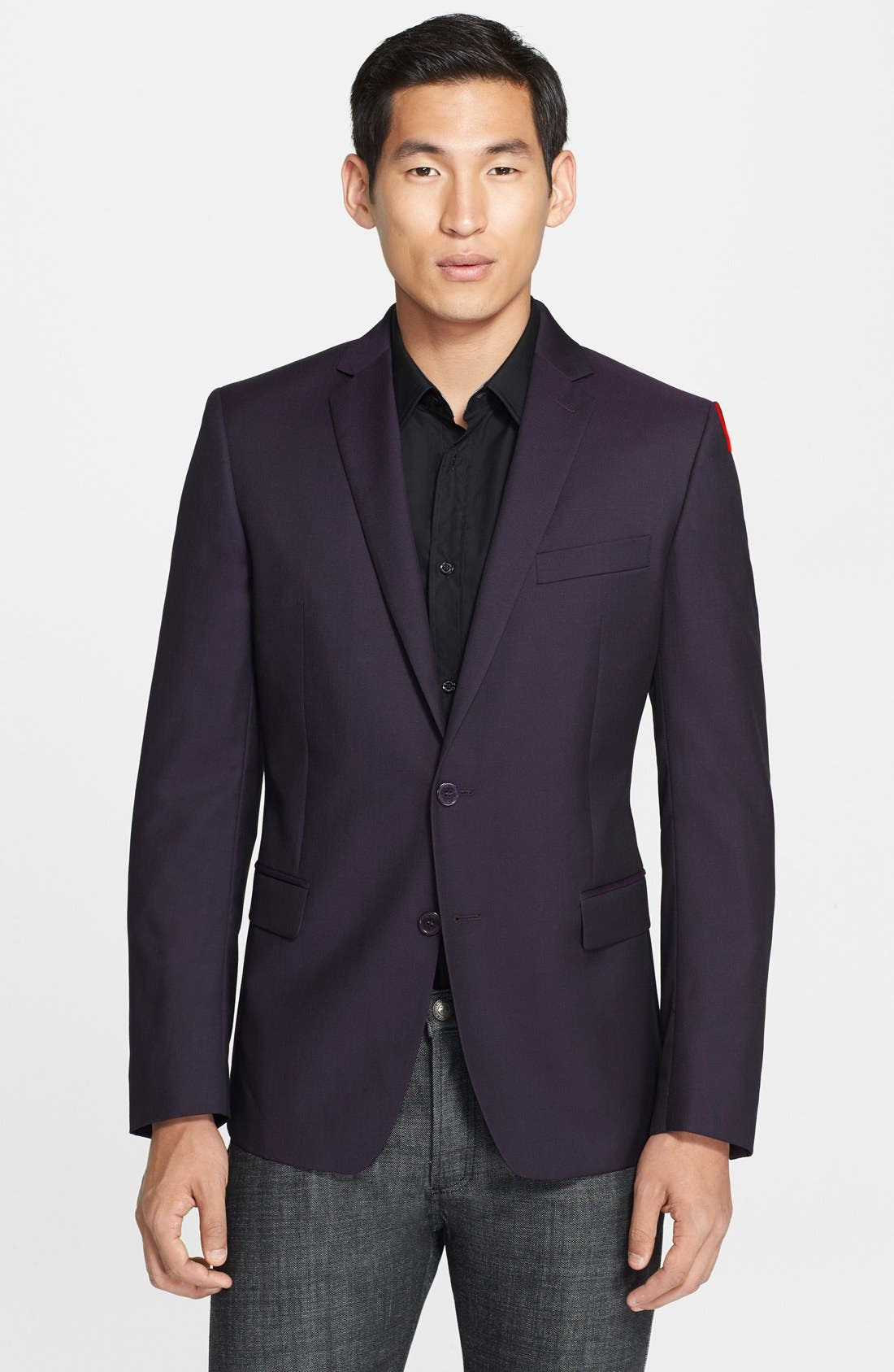 Alternate Image 1 Selected - Versace Collection Purple Twill Wool & Silk Sport Coat
