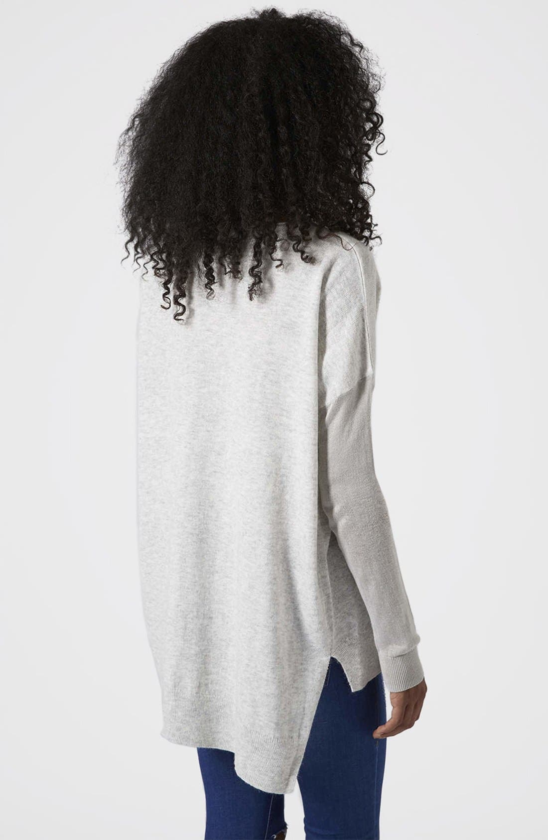 Alternate Image 2  - Topshop Asymmetrical V-Neck Sweater
