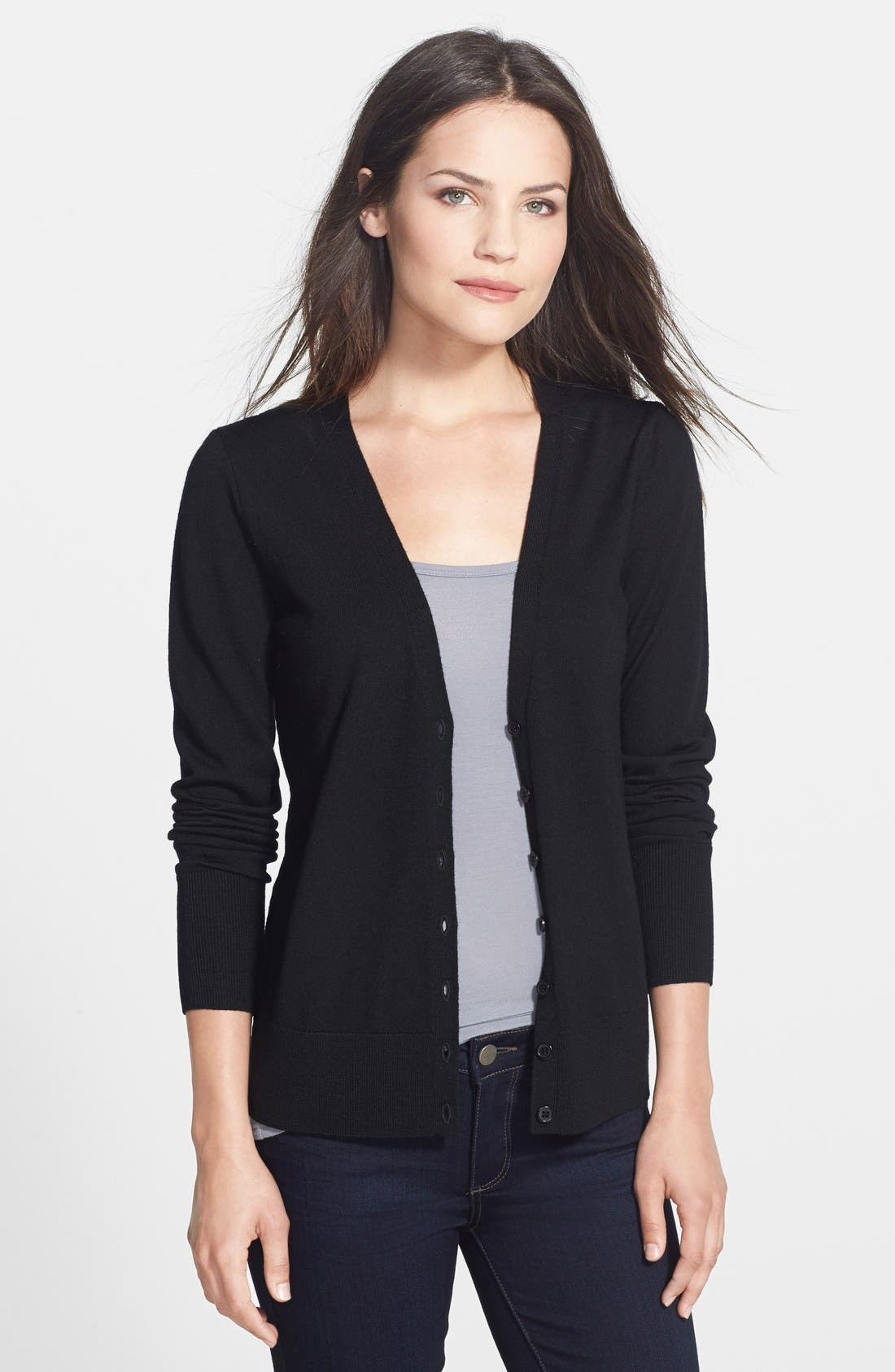 Alternate Image 2  - Halogen® V-Neck Cardigan (Regular & Petite)