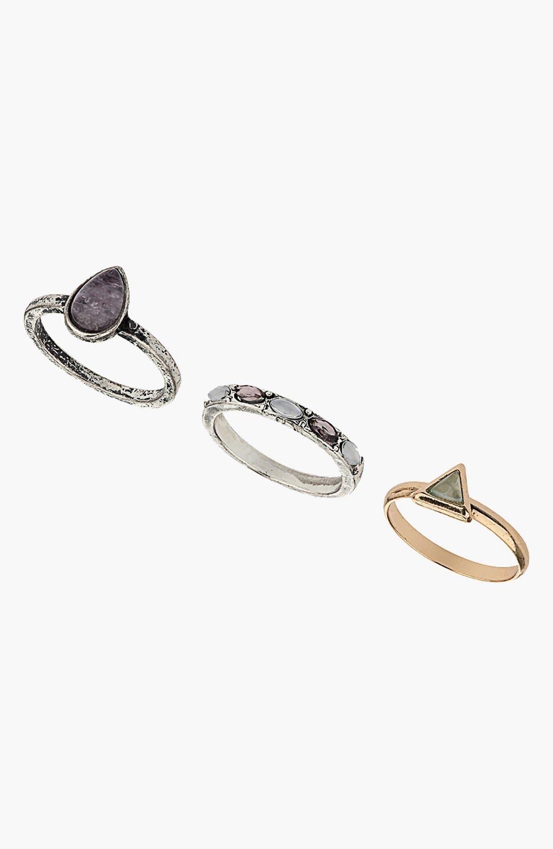 Main Image - Topshop Rings (Set of 3)