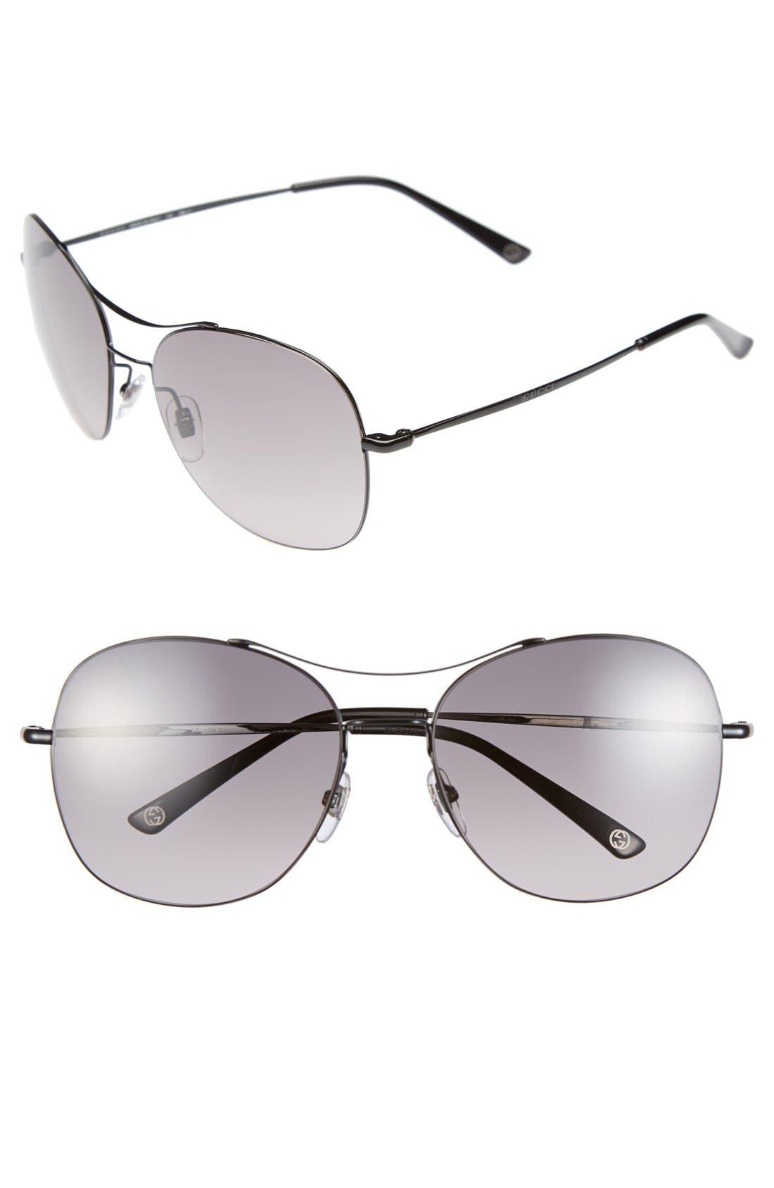 Main Image - Gucci 58mm Navigator Stainless Steel Sunglasses