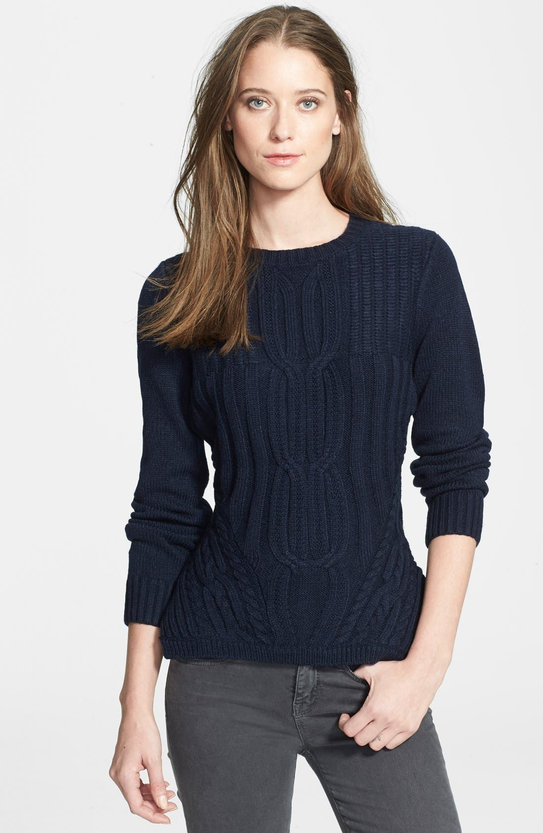 Alternate Image 1 Selected - Ted Baker London 'Daisuma' Cable Engineered Sweater