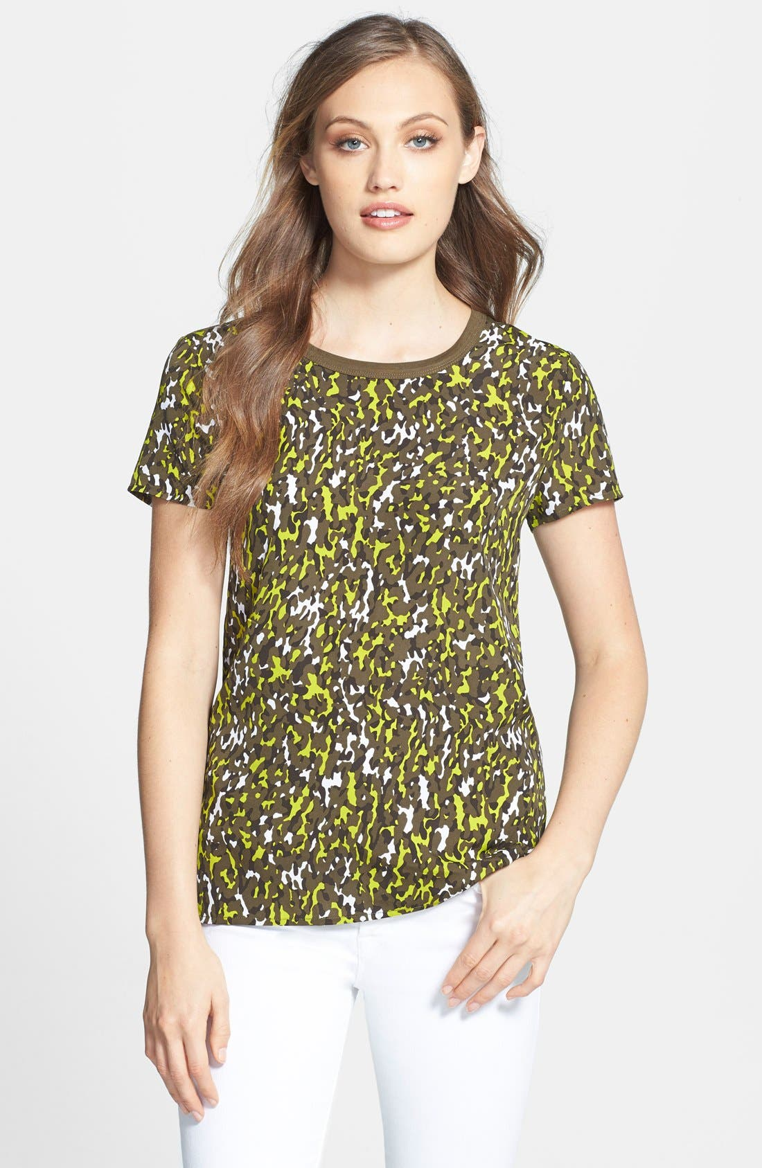 Alternate Image 1 Selected - MICHAEL Michael Kors Camo Print Mixed Media Tee (Petite)