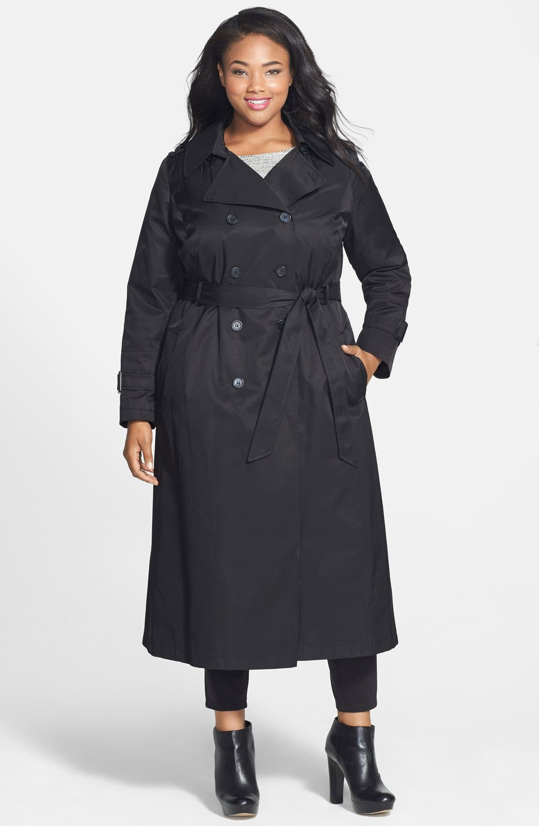 Alternate Image 1 Selected - DKNY Long Trench Coat with Removable Hood (Plus Size)