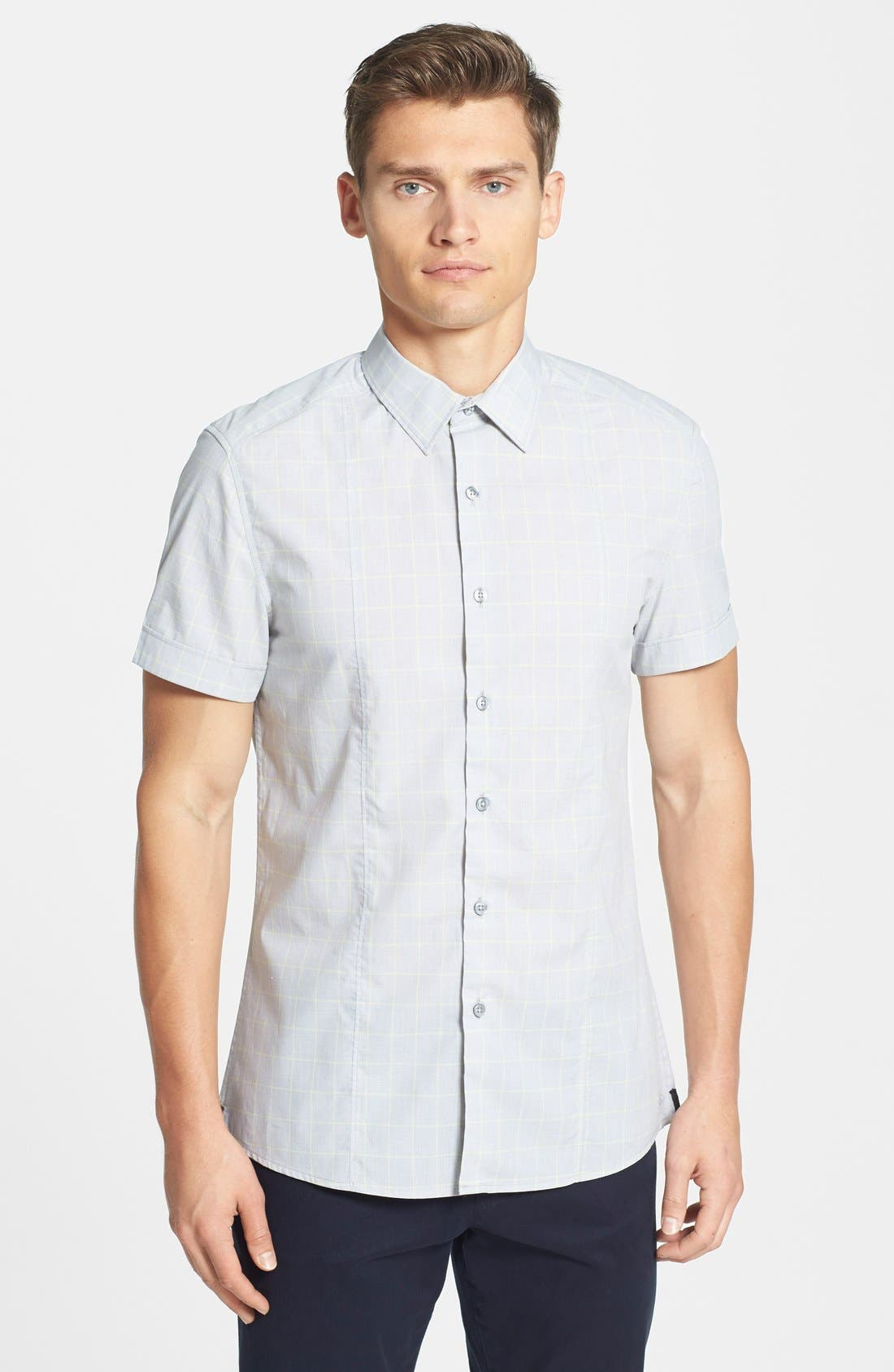 Alternate Image 1 Selected - Kenneth Cole New York Trim Fit Short Sleeve Windowpane Plaid Sport Shirt