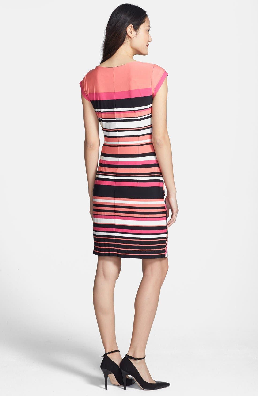 Alternate Image 2  - Taylor Dresses Side Tie Stripe Jersey Dress (Petite)