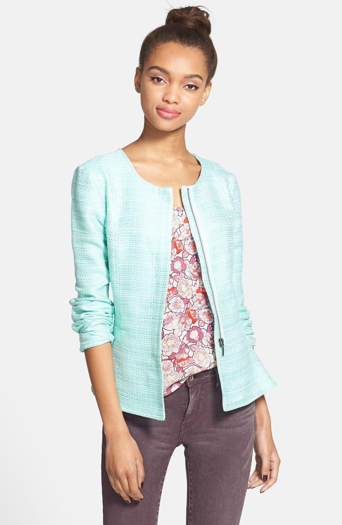 Alternate Image 1 Selected - Stoosh Ruffle Back Tweed Jacket (Juniors)