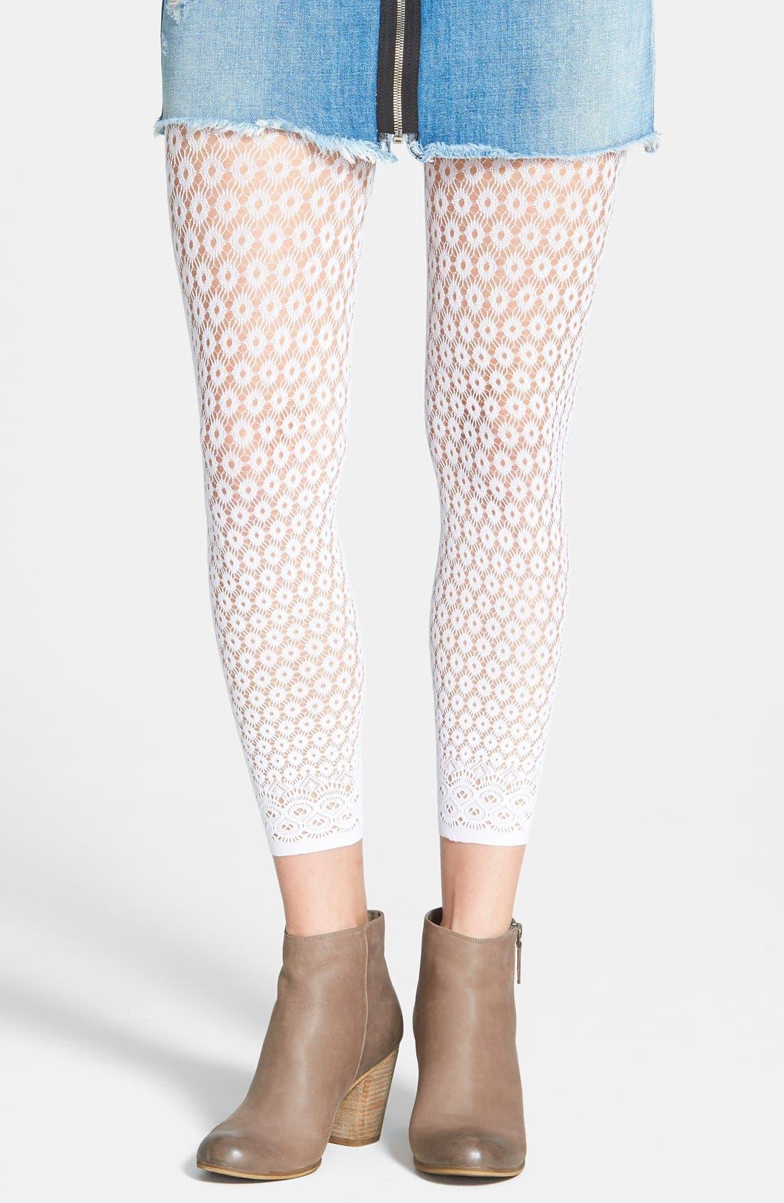 Main Image - DKNY 'Eyelet Lace' Footless Tights
