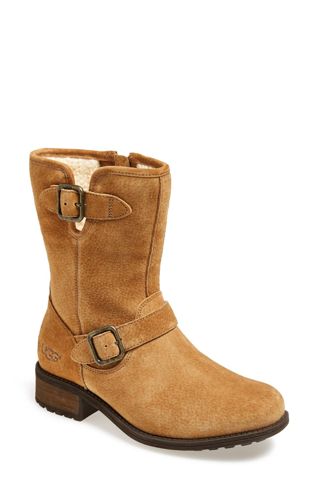 Alternate Image 1 Selected - UGG® 'Chaney' Water Resistant Suede Moto Boot (Women)