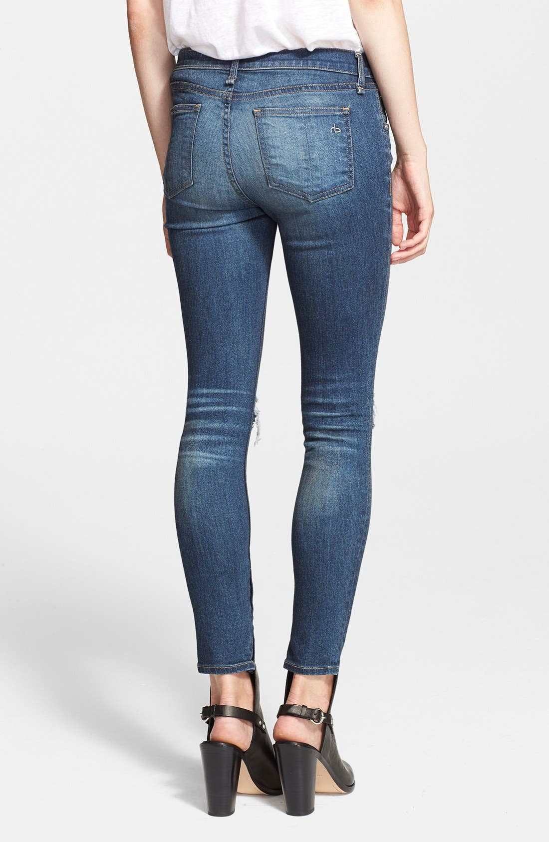 Alternate Image 2  - rag & bone/JEAN Destroyed Skinny Ankle Jeans (Pacifico)