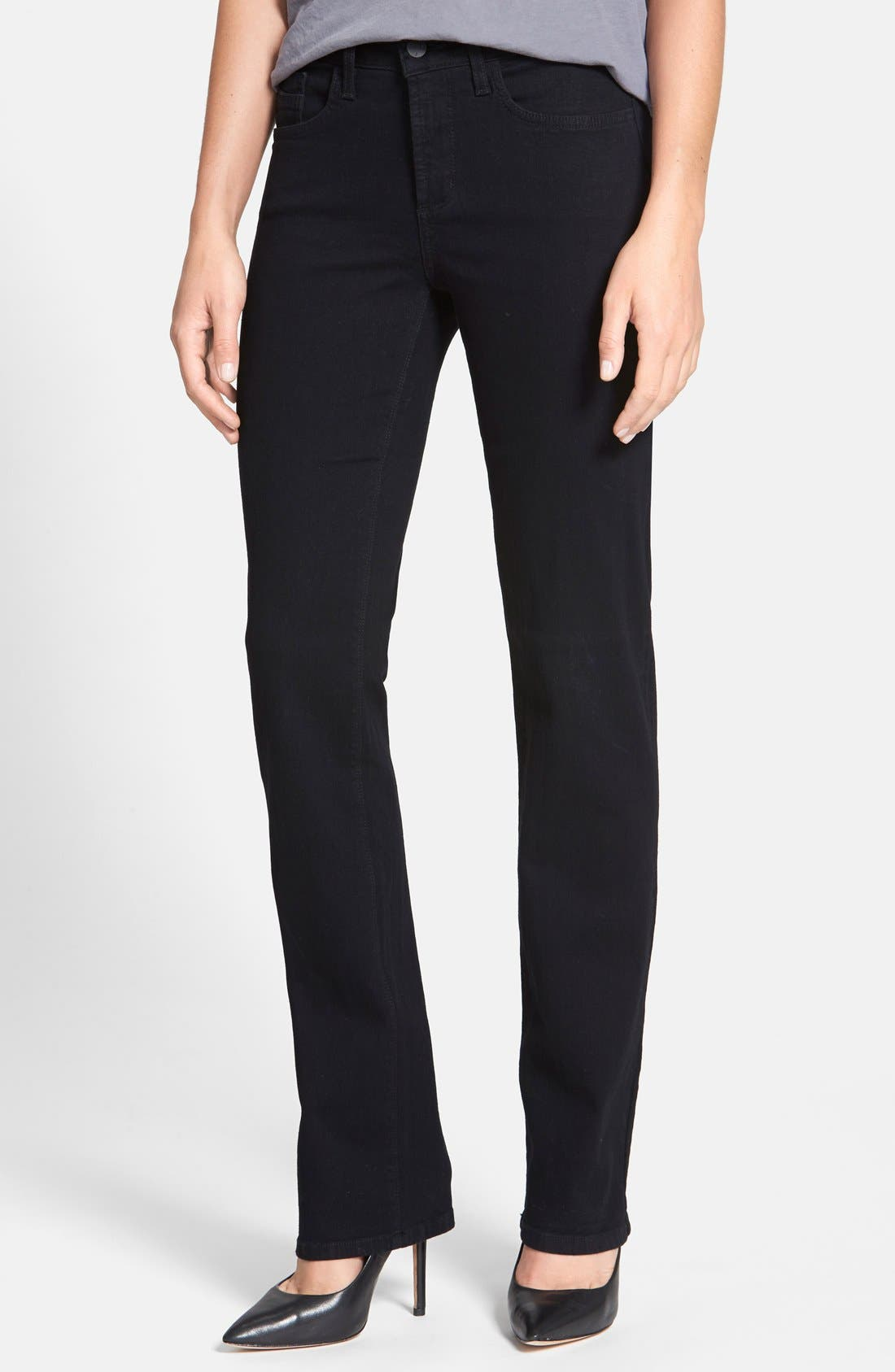 NYDJ 'Marilyn' Stretch Straight Leg Jeans (Black) (Regular & Petite)