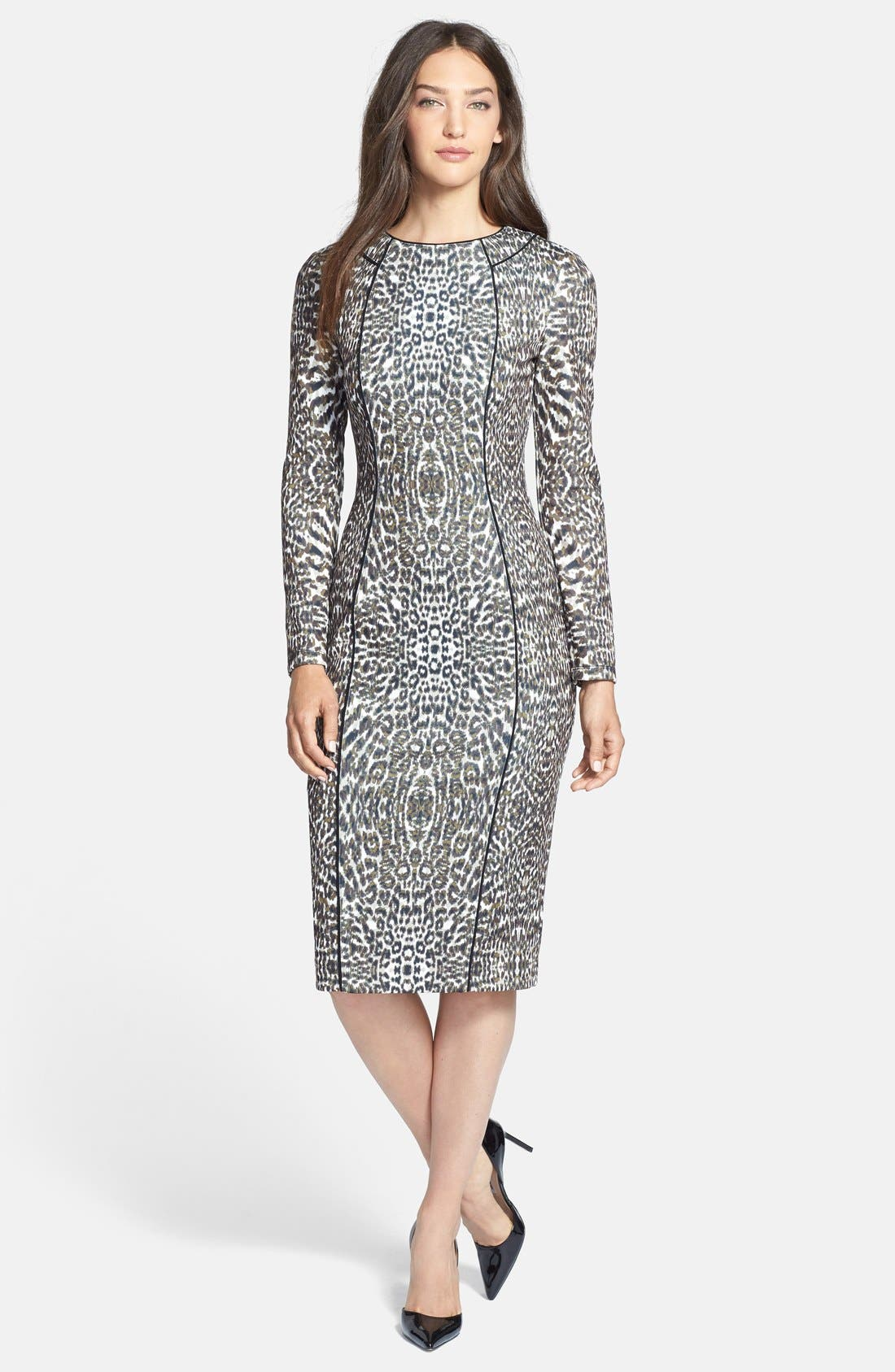 Alternate Image 3  - Maggy London Print Long Sleeve Scuba Sheath Dress