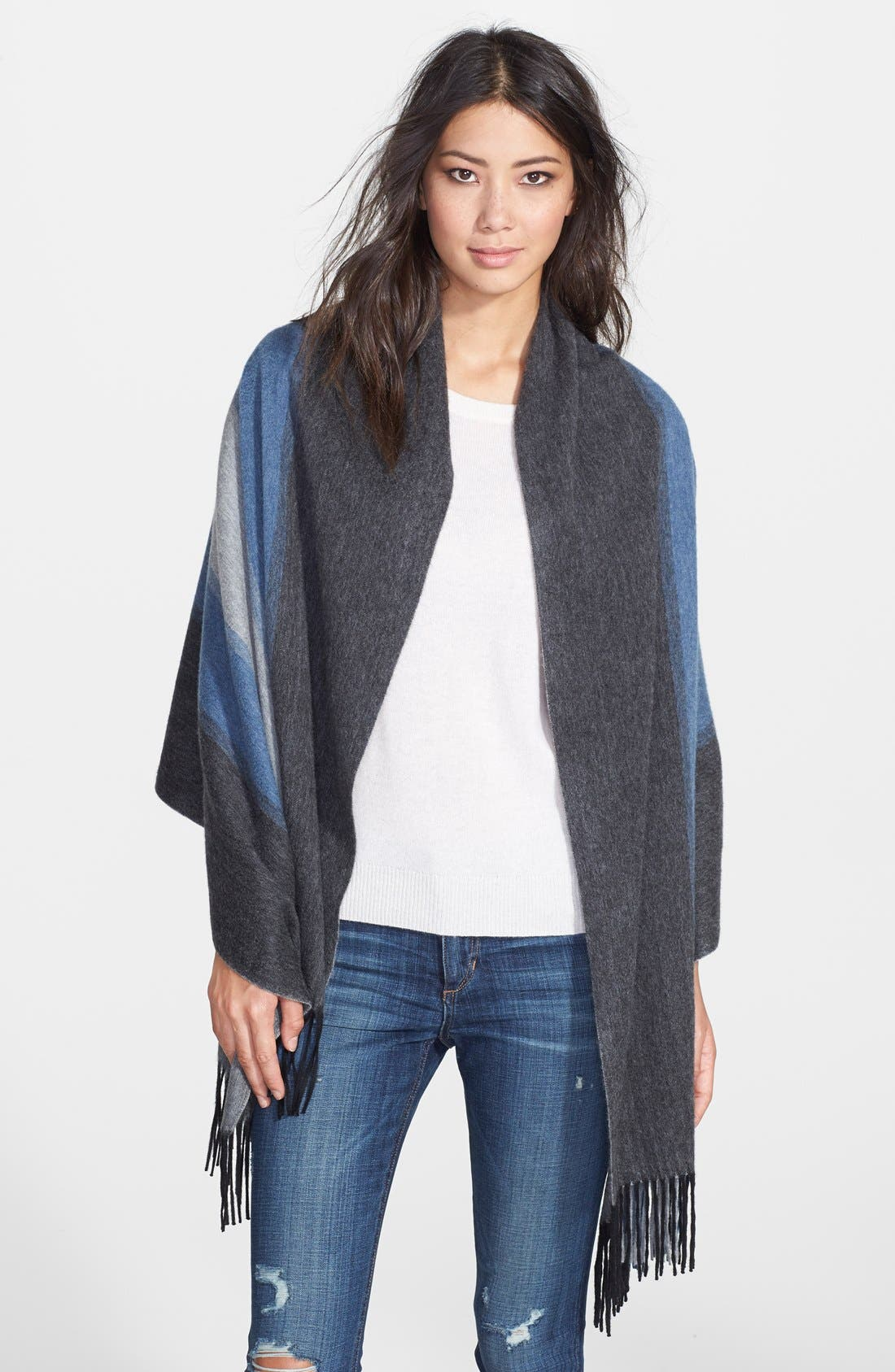 Alternate Image 1 Selected - Nordstrom Collection Colorblock Cashmere Wrap