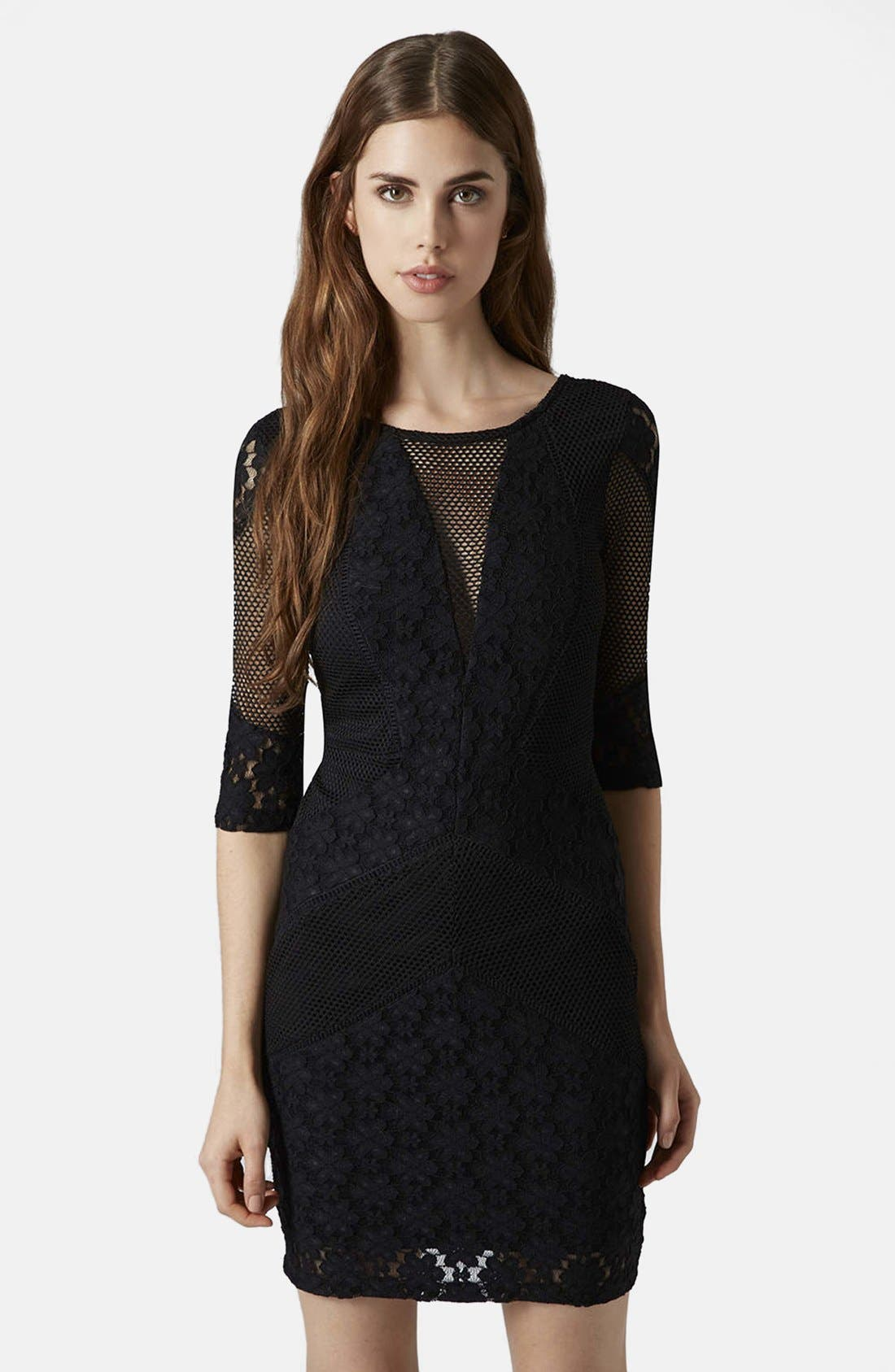 Alternate Image 1 Selected - Topshop Mesh Body-Con Dress