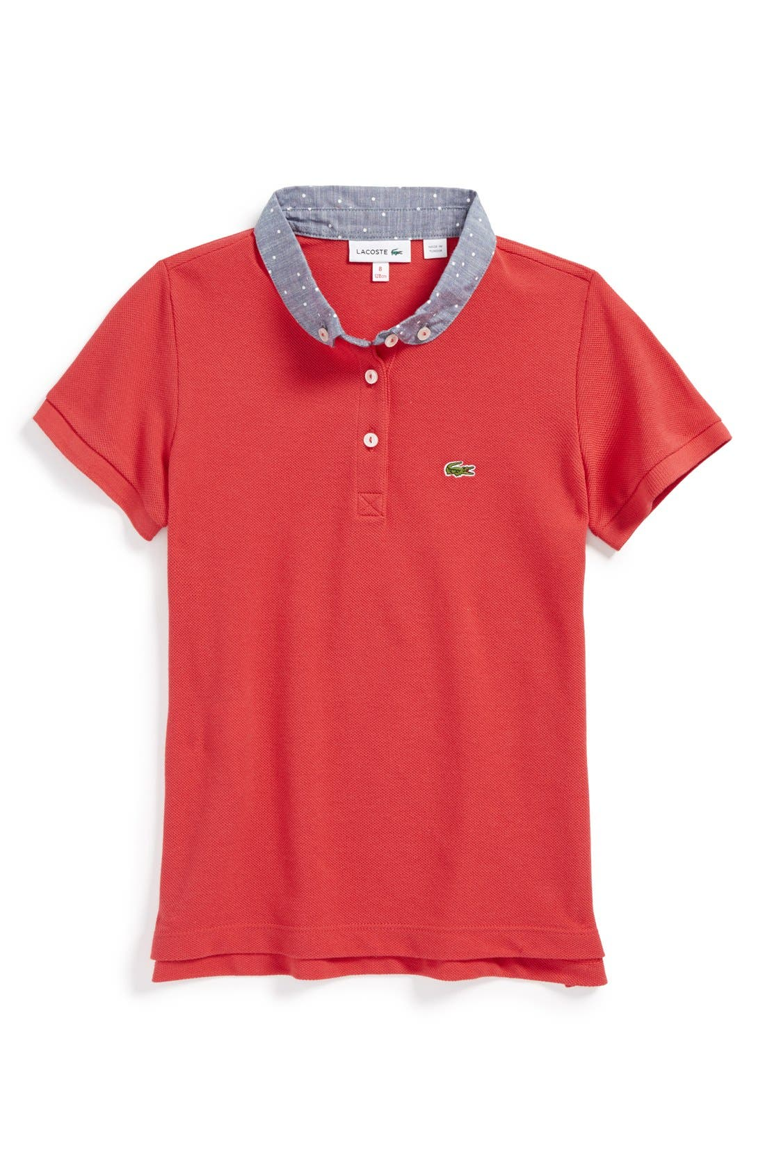 Alternate Image 1 Selected - Lacoste Contrast Collar Polo (Big Girls)
