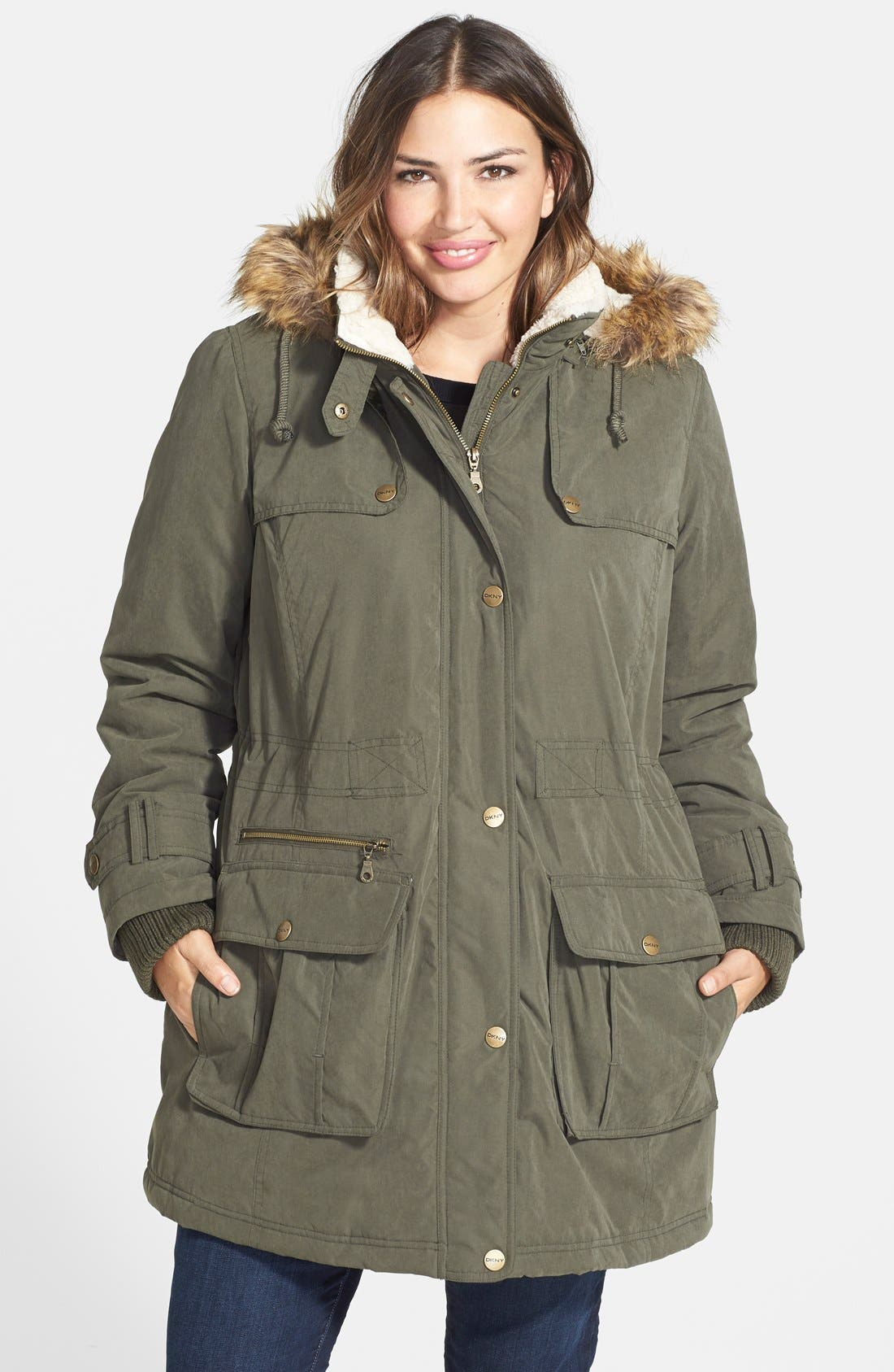 Alternate Image 1 Selected - DKNY Faux Fur Trim Parka (Plus Size)