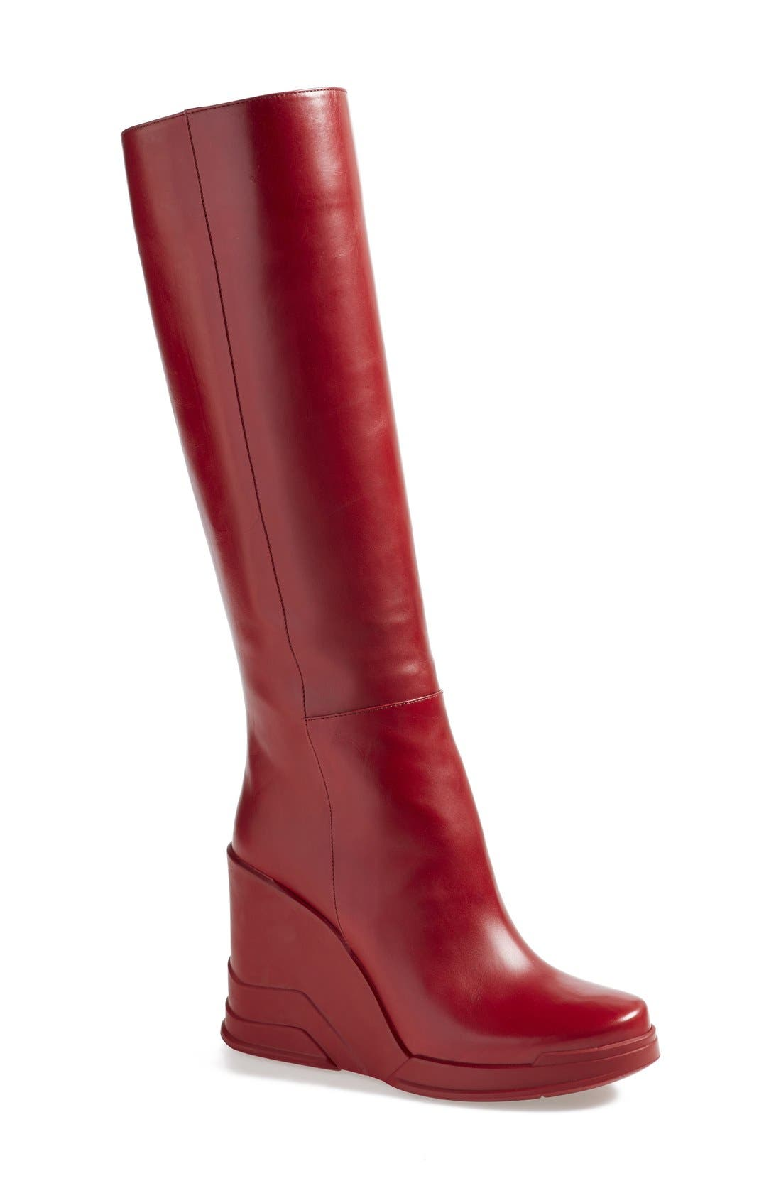 Main Image - Prada Knee High Wedge Boot (Women)