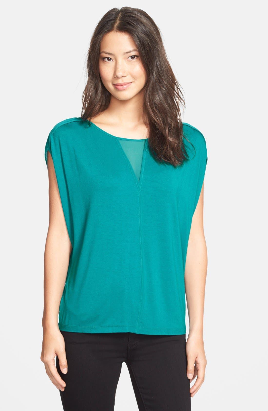 Alternate Image 1 Selected - Adrianna Papell Chiffon Inset Slouchy Jersey Top