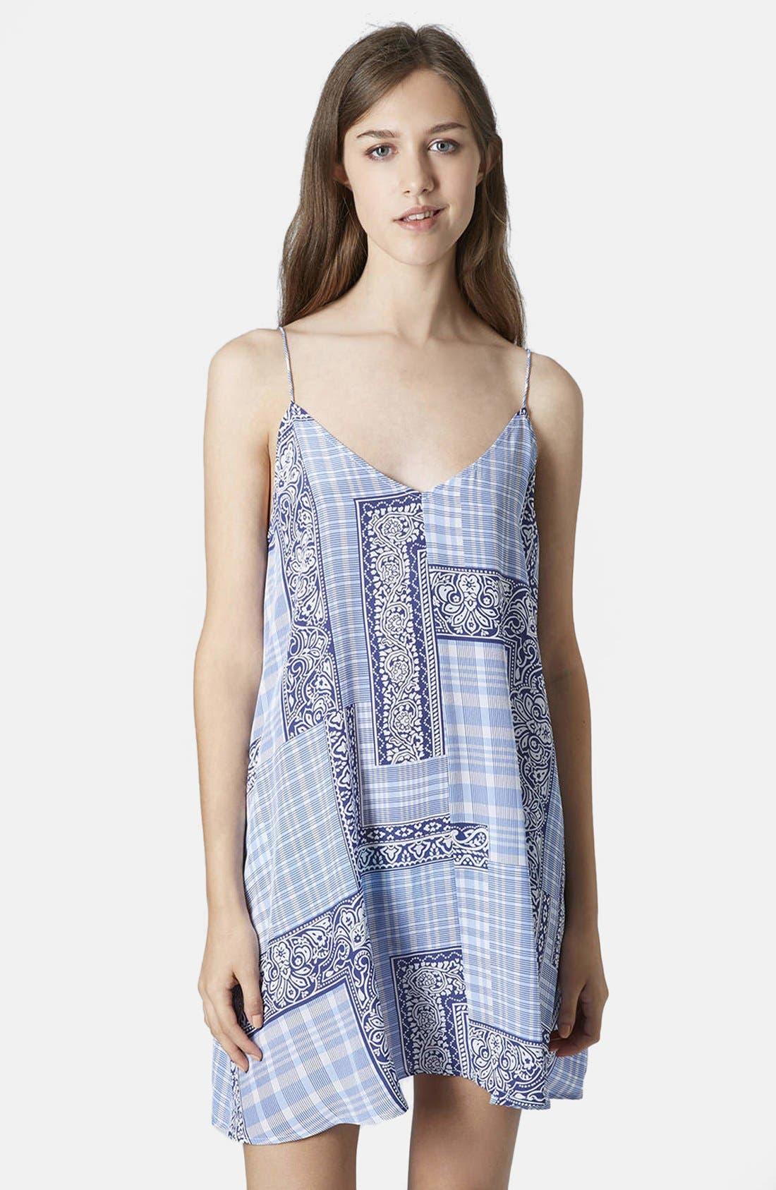 Alternate Image 1 Selected - Topshop Boutique Tile Print Silk Slipdress