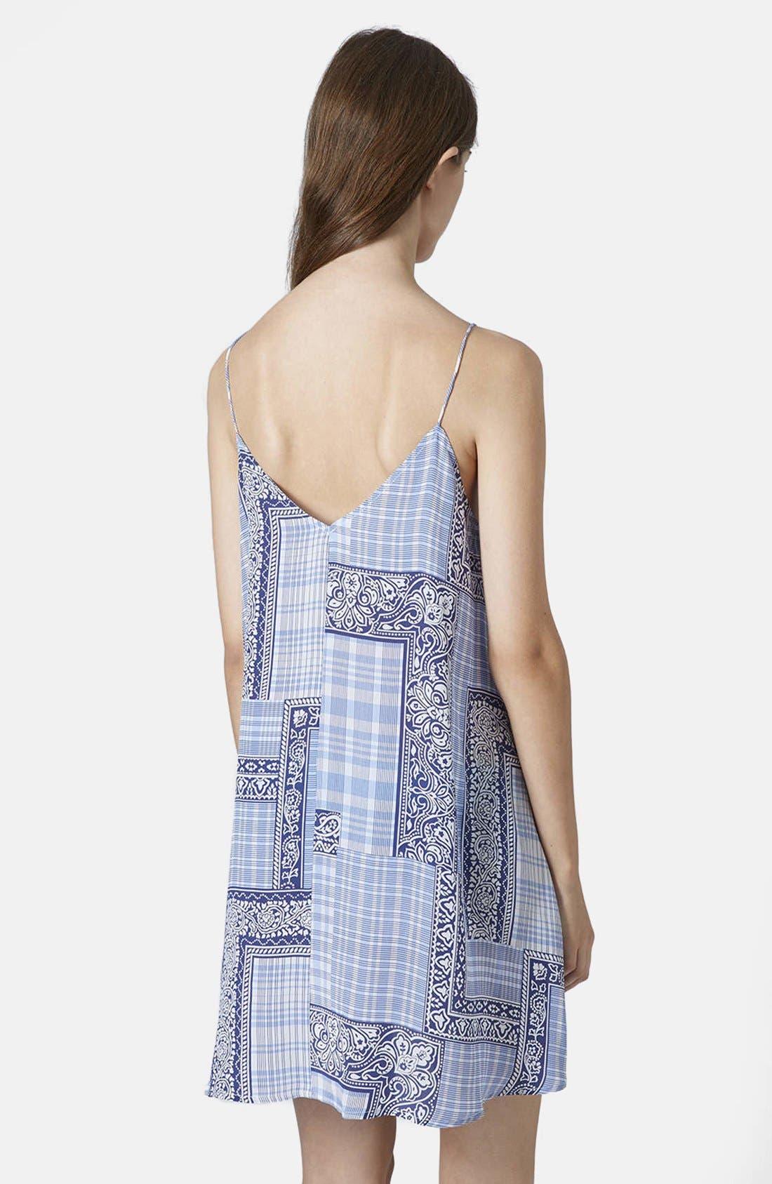 Alternate Image 2  - Topshop Boutique Tile Print Silk Slipdress