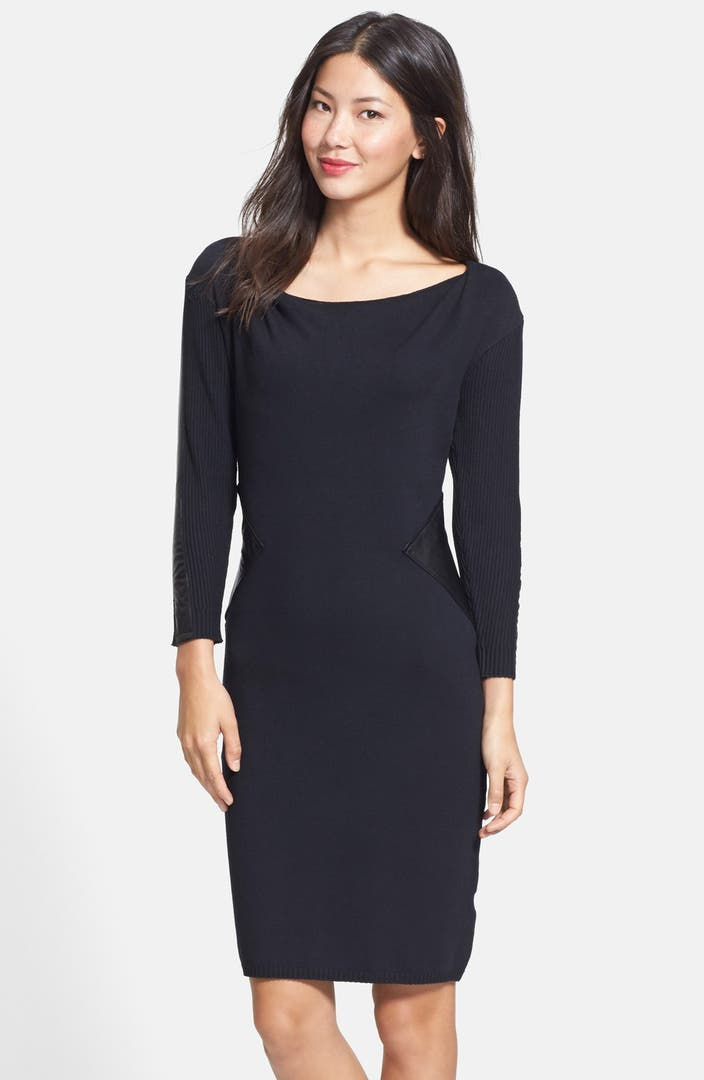 Laundry by Shelli Segal Mixed Media Sweater Dress | Nordstrom