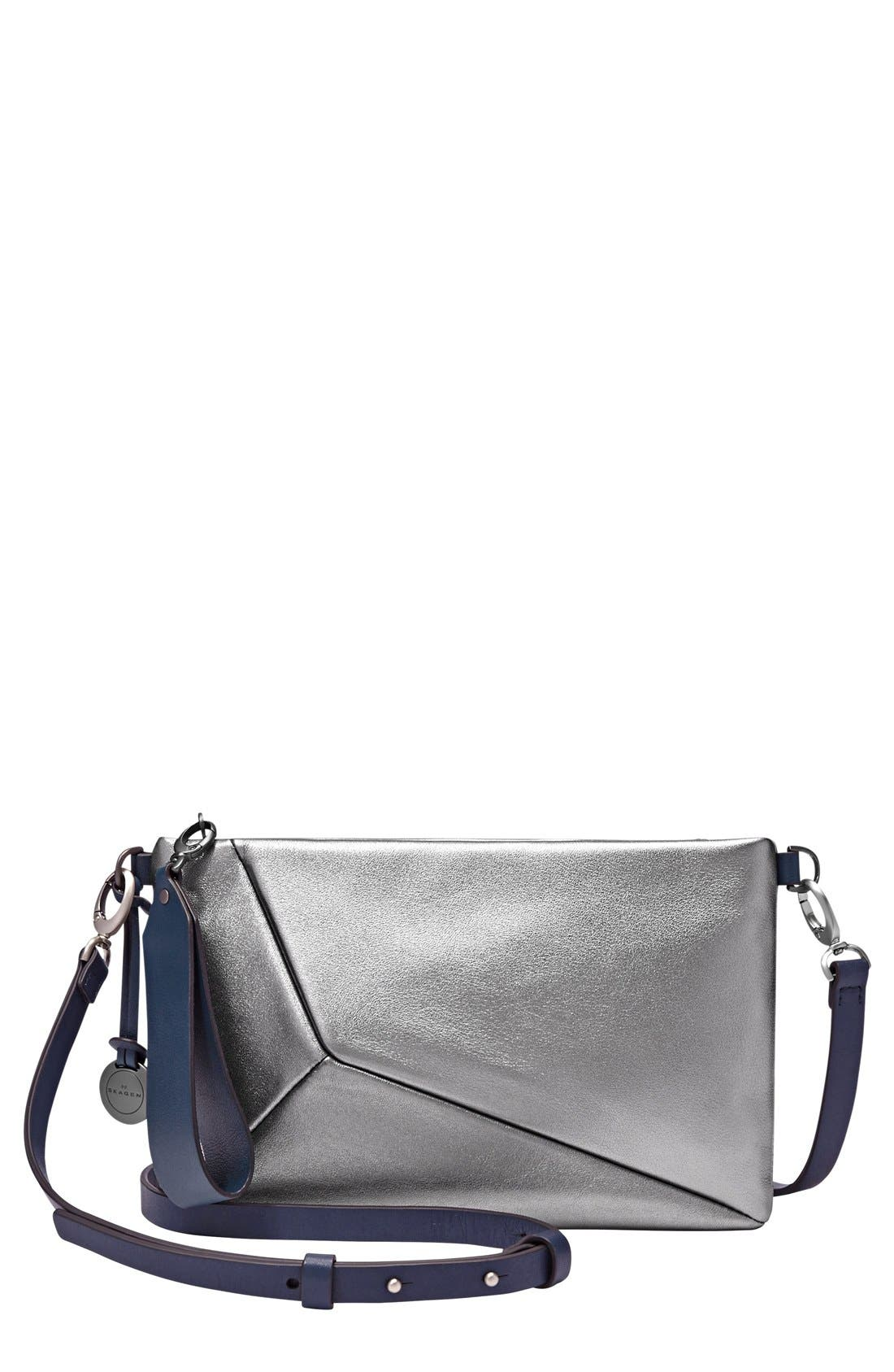 Alternate Image 1 Selected - Skagen Small Metallic Leather Crossbody Clutch