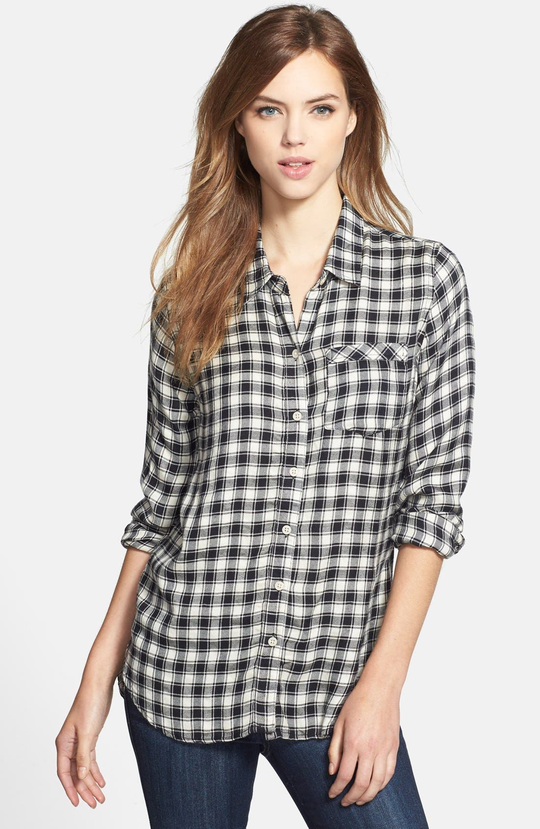 Alternate Image 1 Selected - Lucky Brand Plaid Flannel Boyfriend Shirt