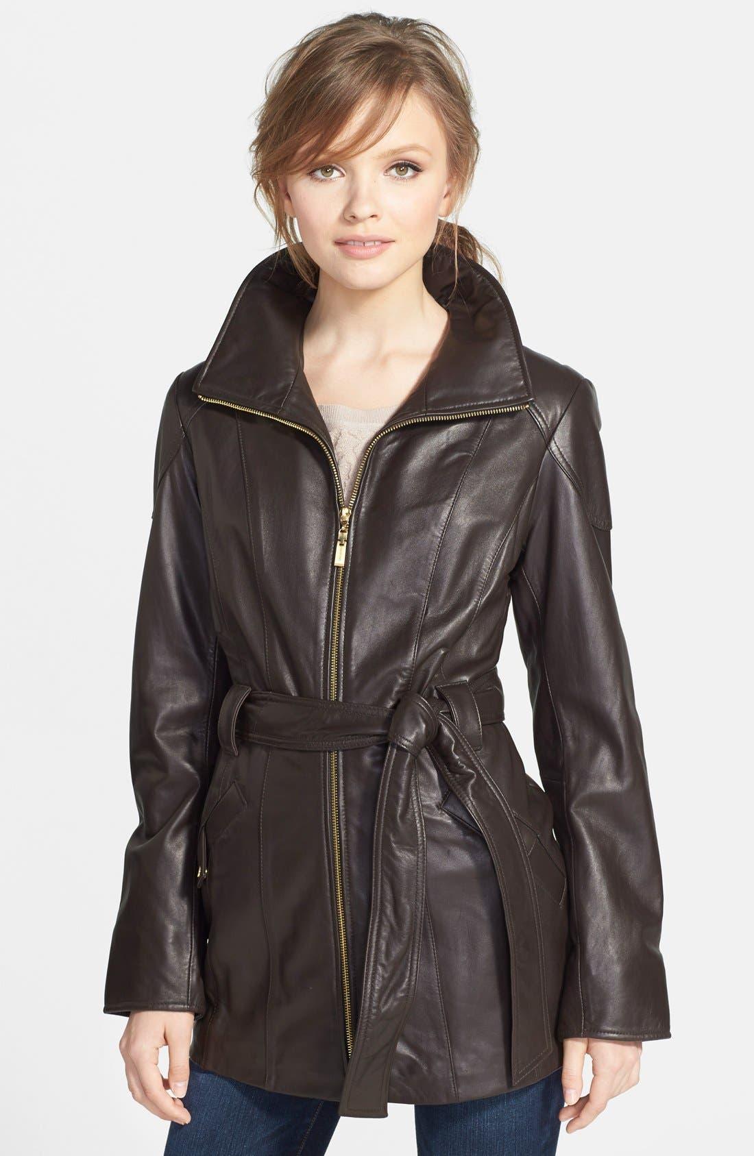 Ellen Tracy Leather Trench Jacket (Regular & Petite ...