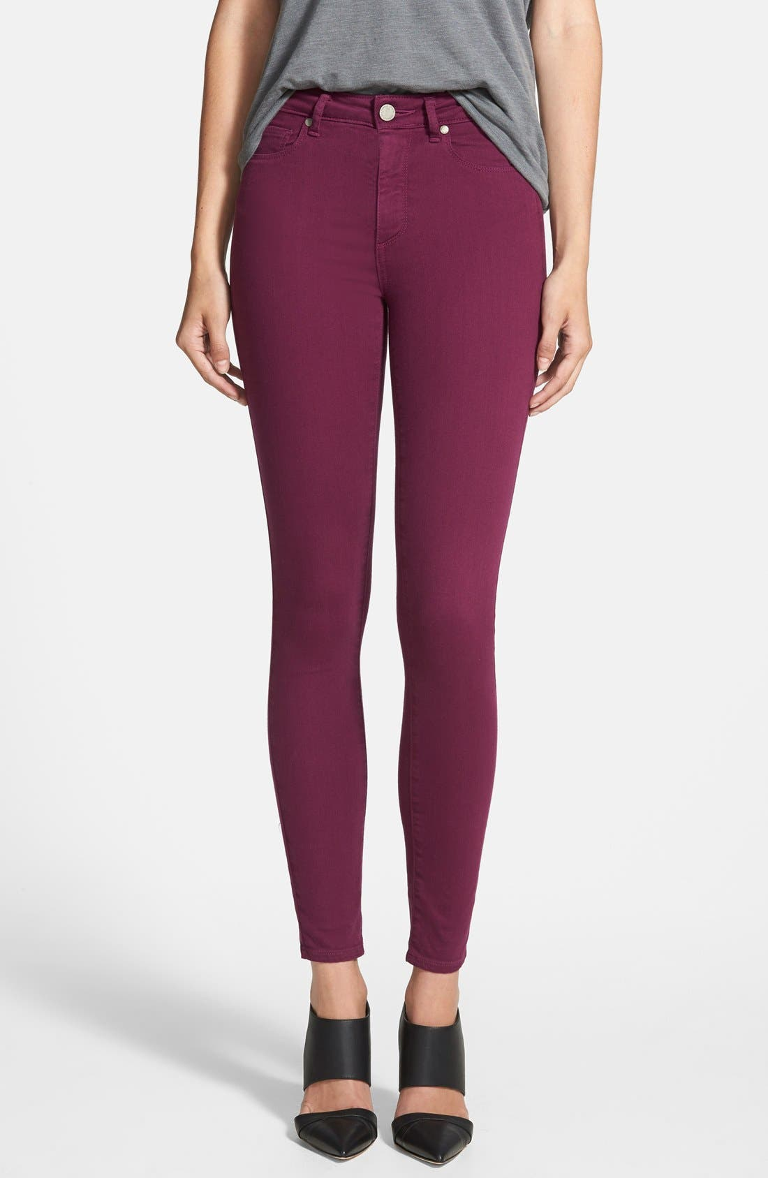 Alternate Image 1 Selected - Paige Denim 'Hoxton' Ultra Skinny Jeans (Passion Plum)