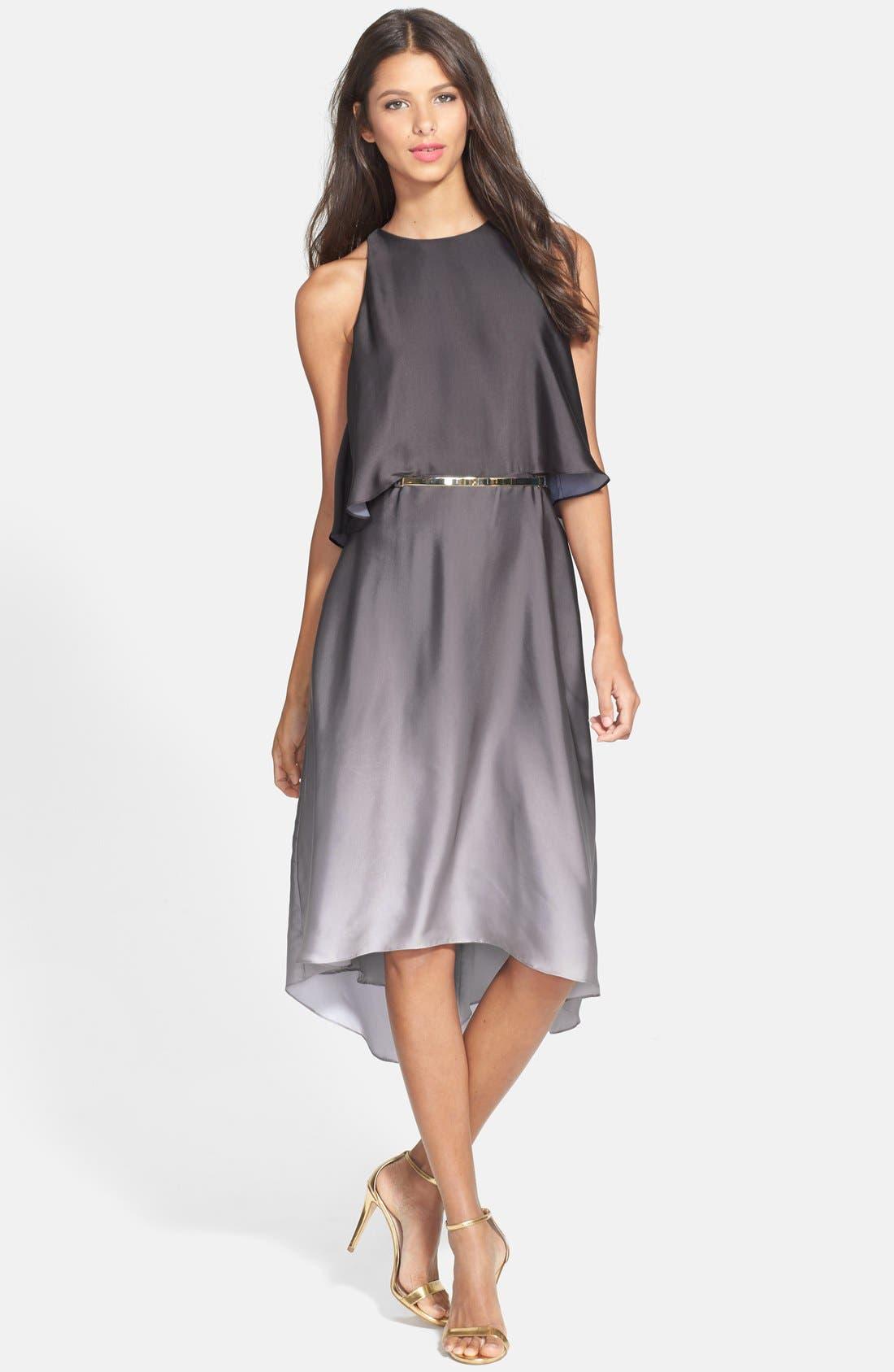Alternate Image 3  - Halston Heritage Ruffle Back Ombré Charmeuse Dress