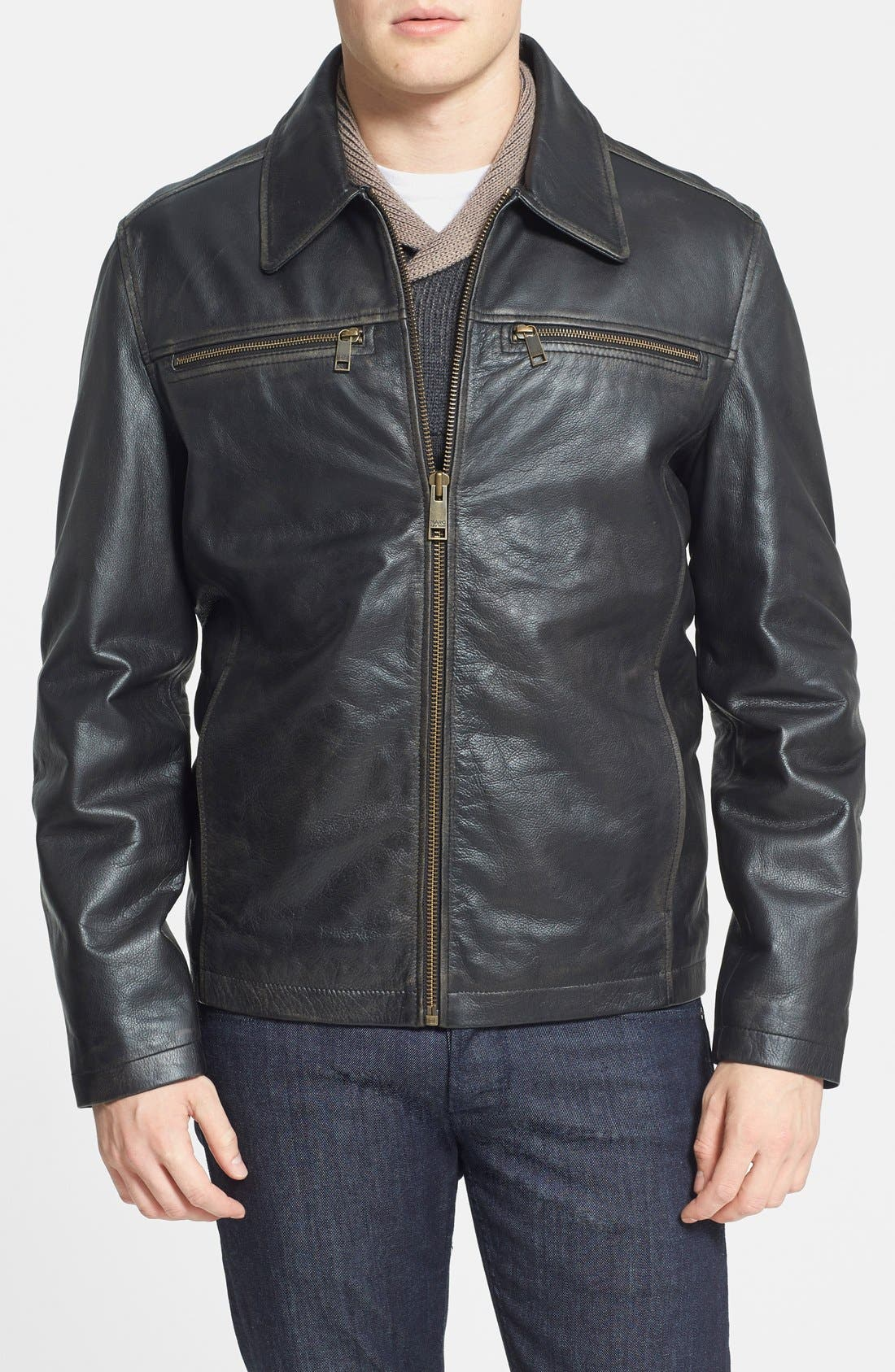 Alternate Image 1 Selected - Marc New York by Andrew Marc 'Romney' Distressed Leather Jacket (Online Only)