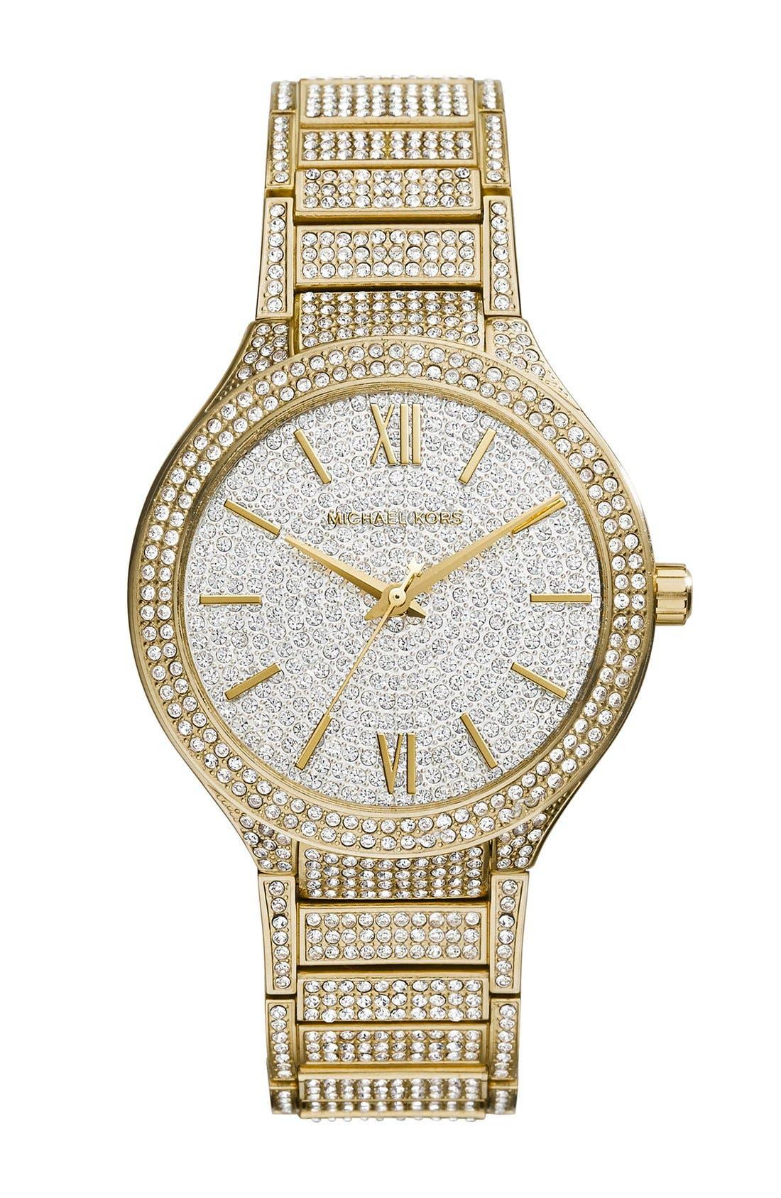 Main Image - Michael Kors 'Kerry' Pavé Round Bracelet Watch, 38mm