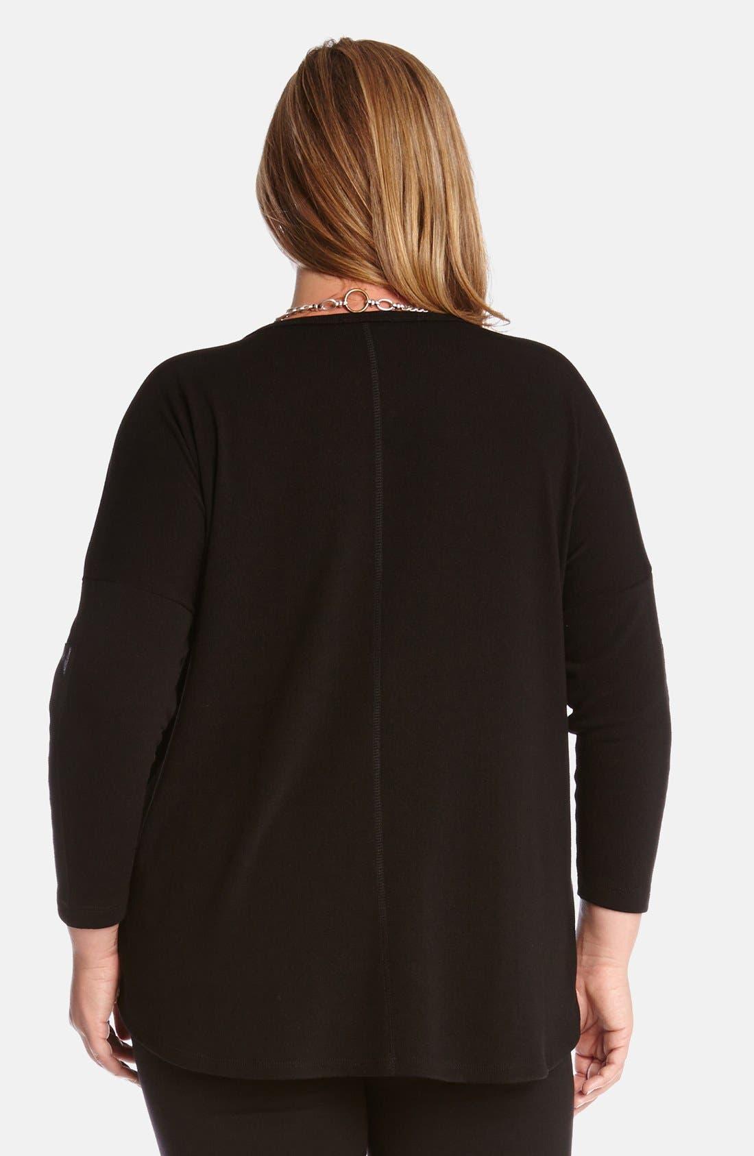 Alternate Image 2  - Karen Kane Faux Leather Trim Sweater (Plus Size)