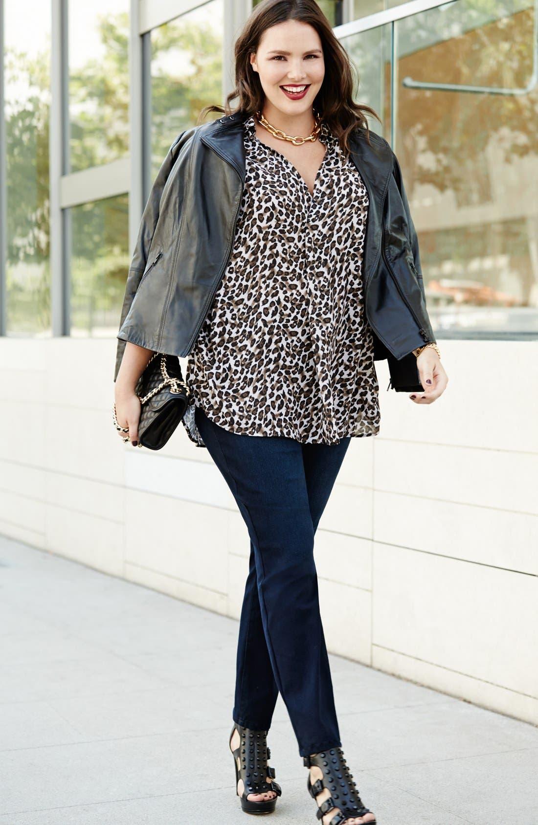 Alternate Image 2  - Bellatrix Tunic Shirt & NYDJ Stretch Skinny Jeans (Plus Size)