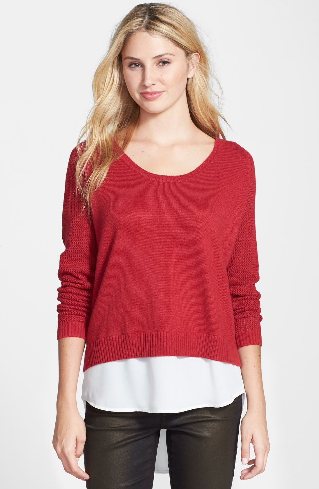 Alternate Image 1 Selected - DKNYC Layer Look Textured Sleeve Sweater