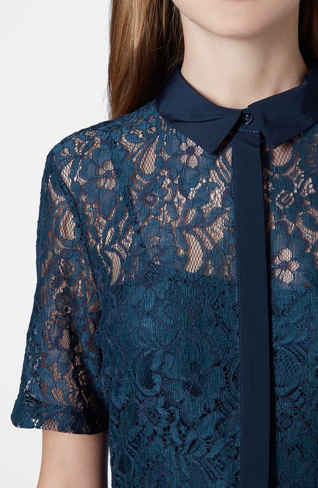 Alternate Image 4  - Topshop Lace Shirt Dress