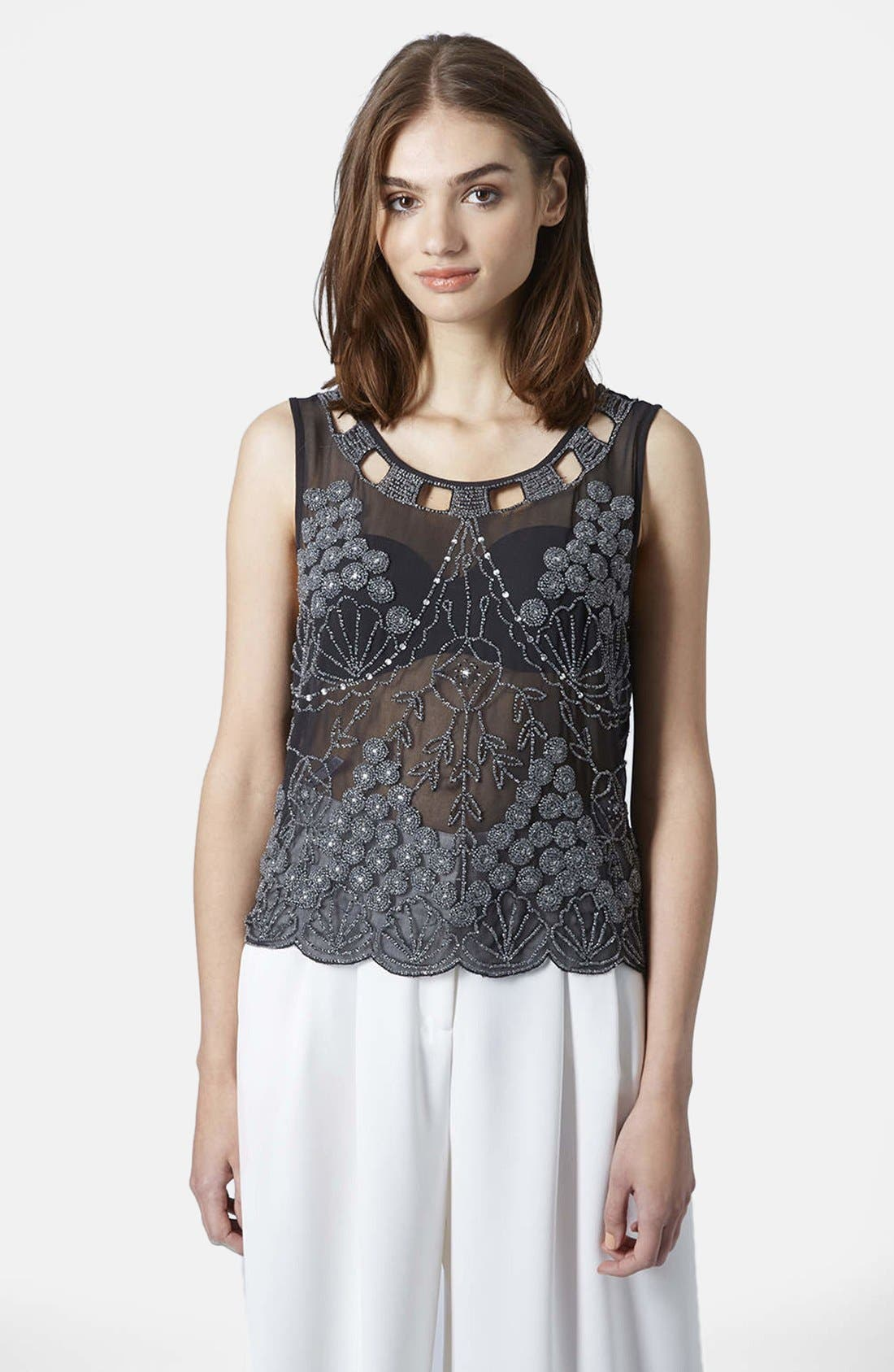 Main Image - Topshop Embellished Sheer Sleeveless Top