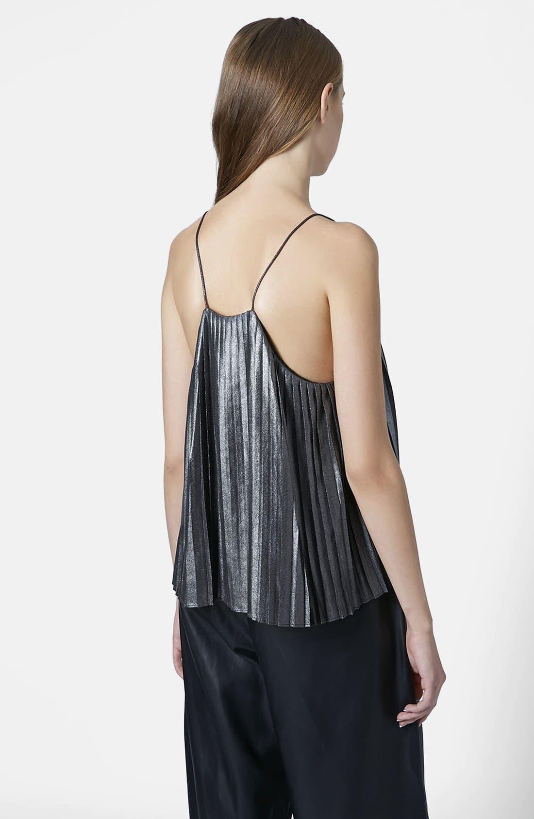 Alternate Image 2  - Topshop Metallic Pleat Camisole