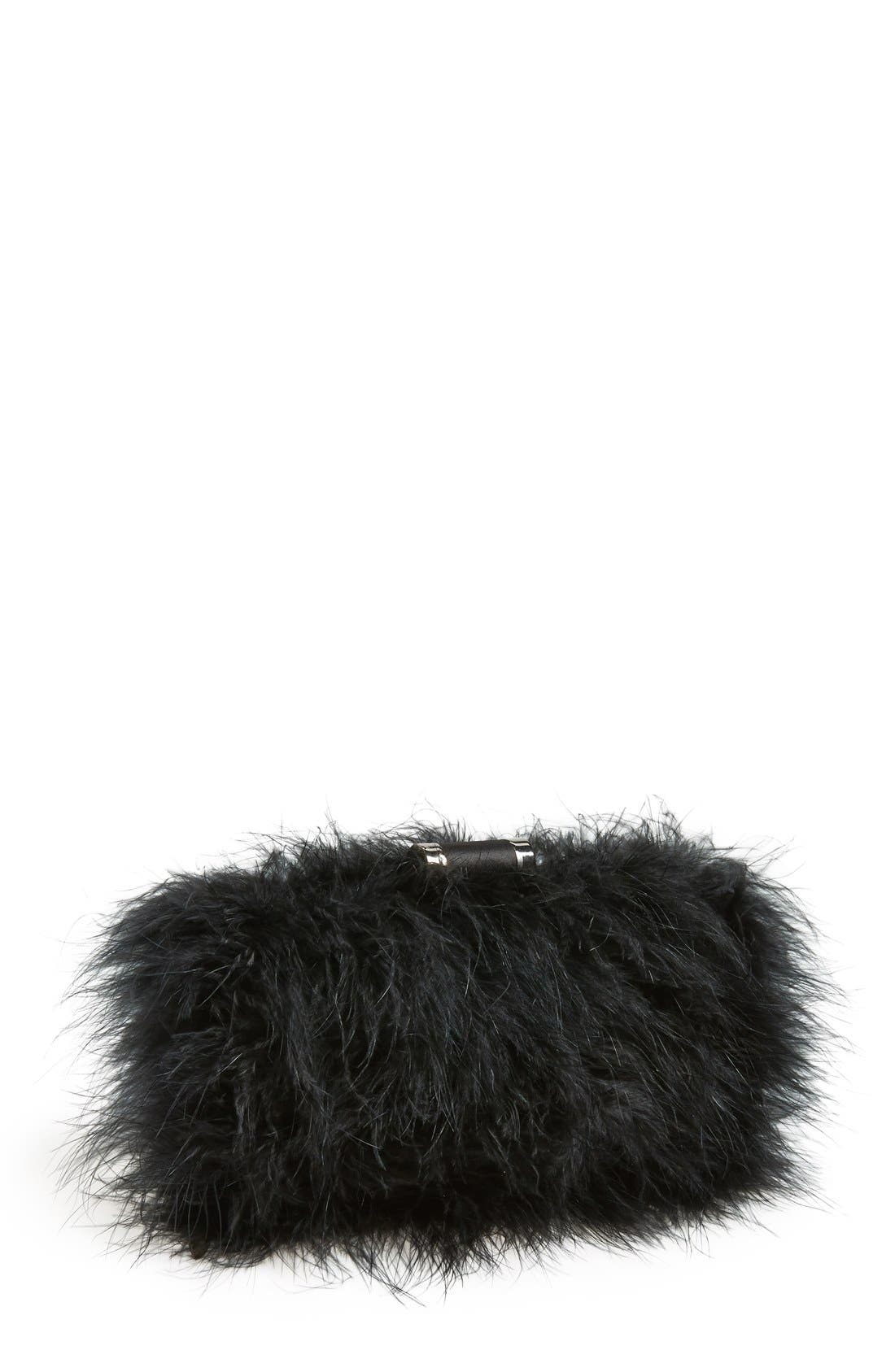Main Image - Sondra Roberts 'Furry Monster' Feather Clutch