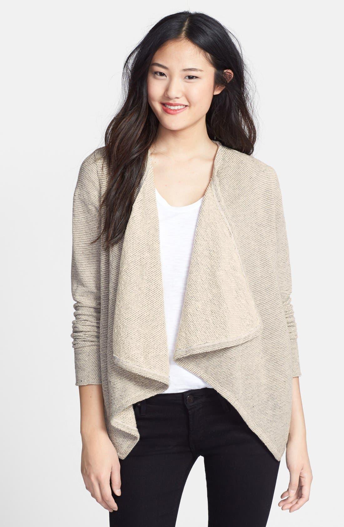 Main Image - Caslon® Tweedy Terry Knit Drape Front Jacket