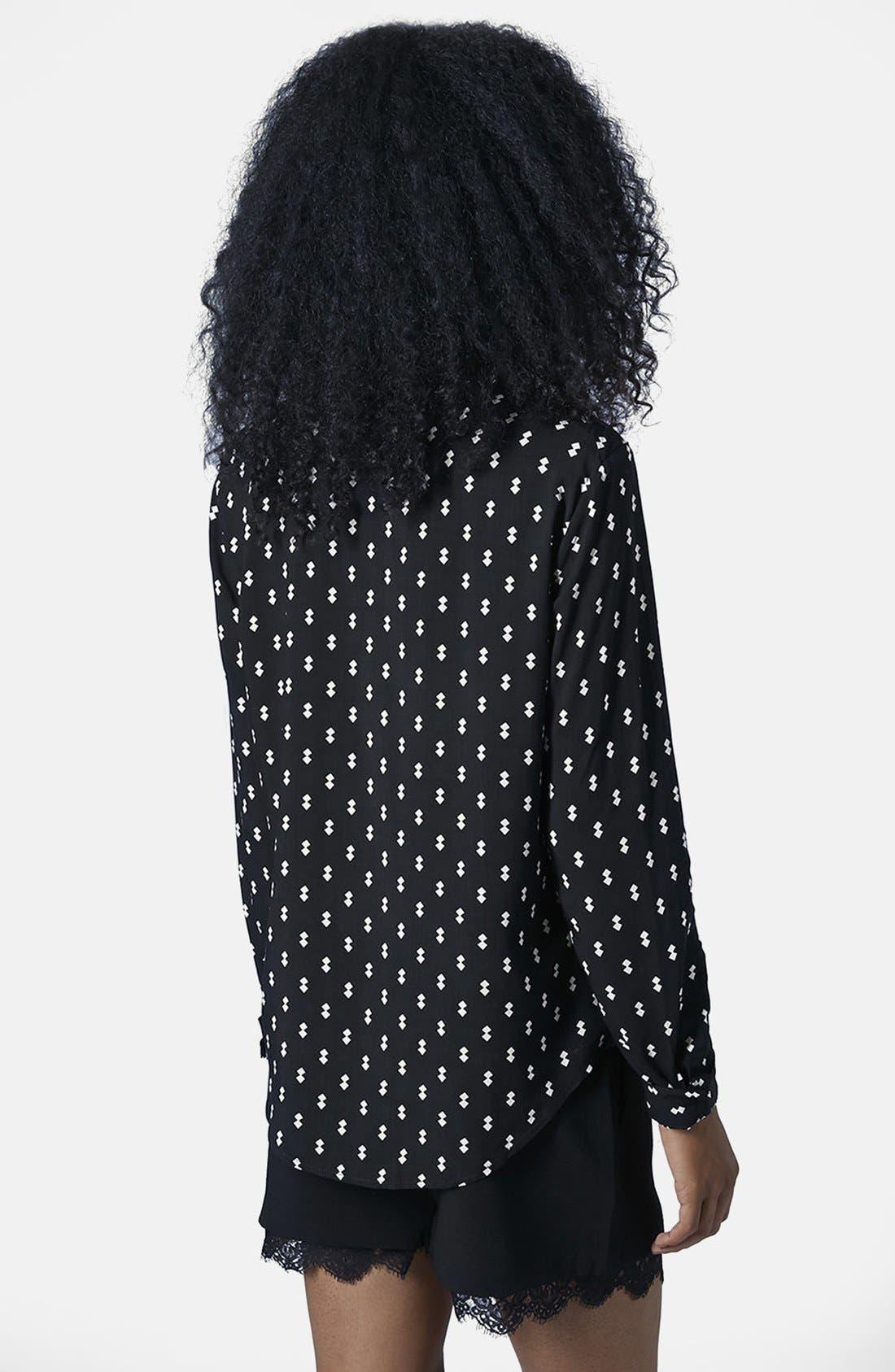 Alternate Image 2  - Topshop Diamond Print Woven Shirt