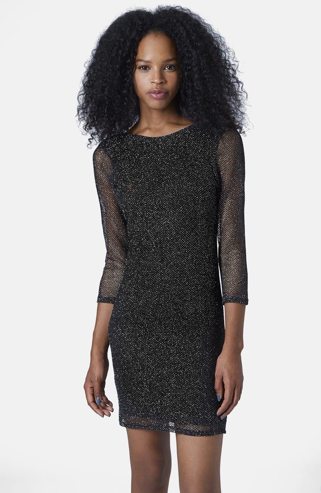 Main Image - Topshop Glitter Mesh Body-Con Dress