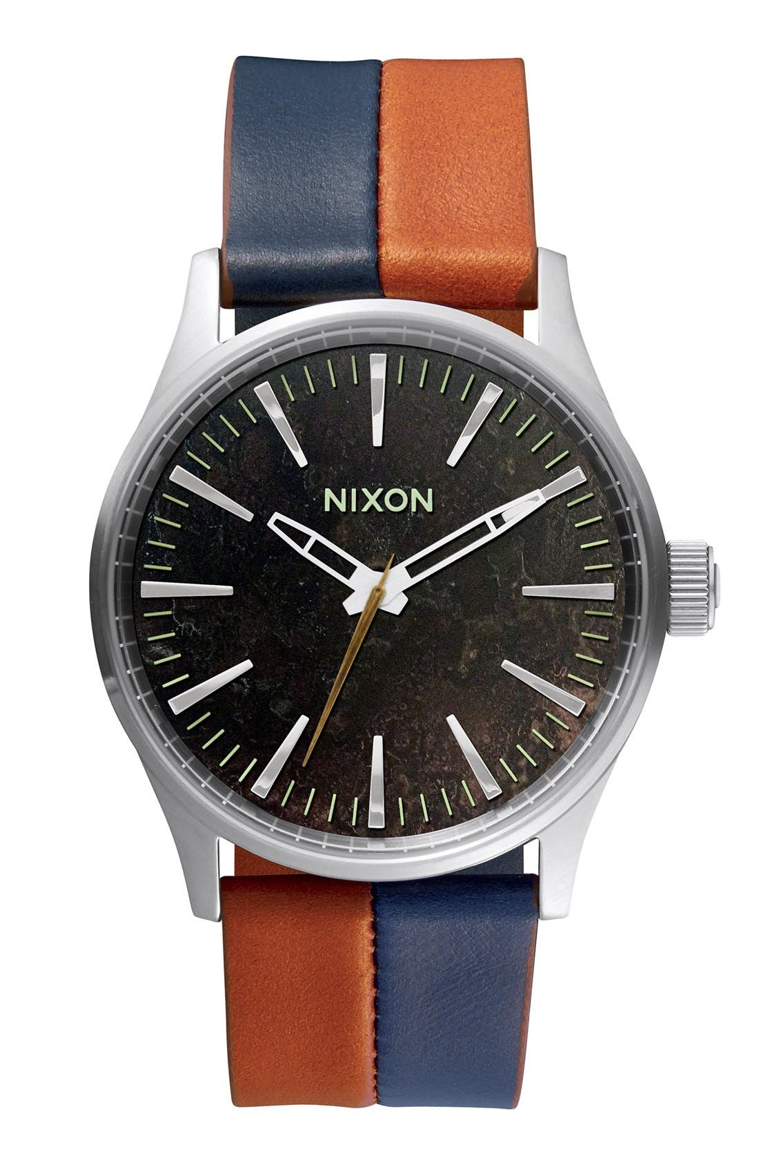 Alternate Image 1 Selected - Nixon 'The Sentry 38' Leather Strap Watch, 38mm