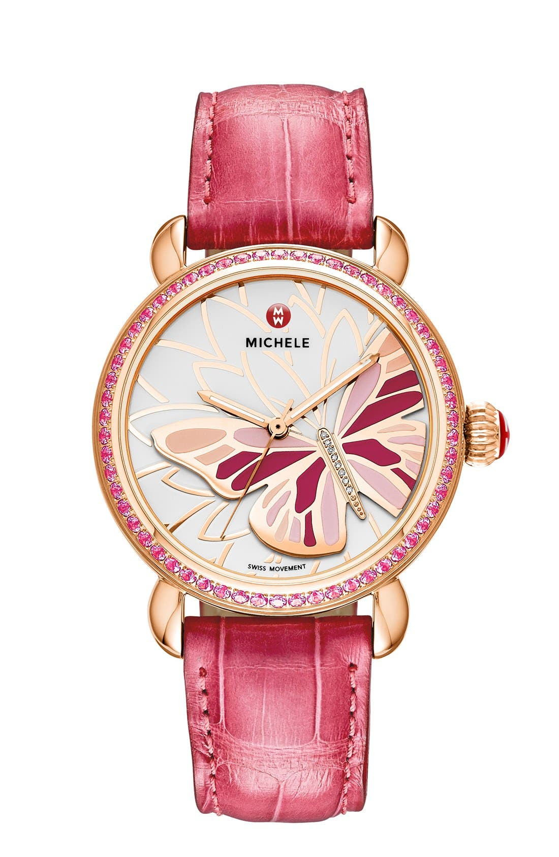Alternate Image 2  - MICHELE 'Garden Party' Topaz Bezel Butterfly Dial Watch Case, 36mm (Limited Edition)