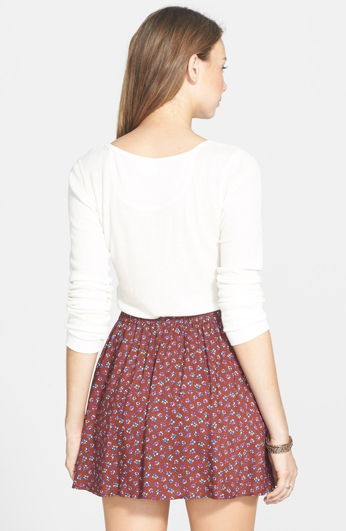 Alternate Image 2  - Lush Button Front Skater Skirt