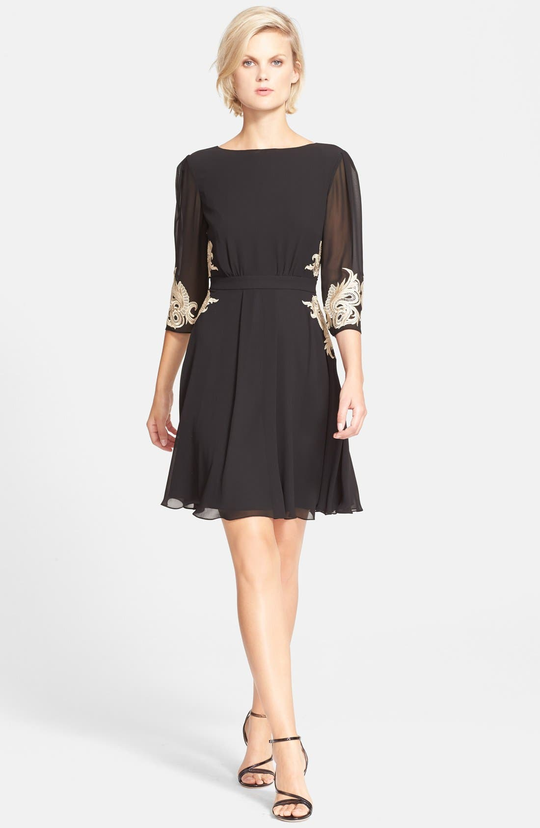 Main Image - Ted Baker London 'Gaenor' Embroidered Fit & Flare Dress