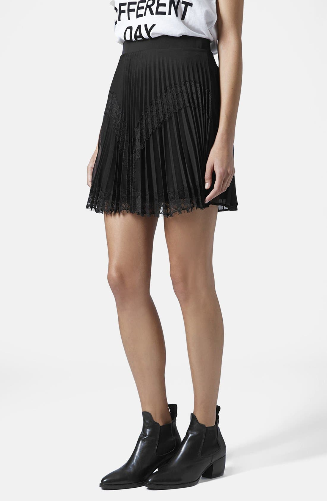 Alternate Image 1 Selected - Topshop Pleat Eyelash Skirt