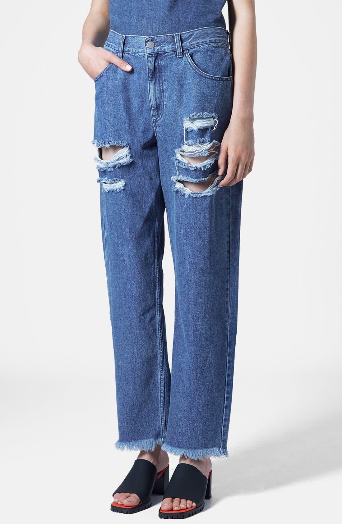 Alternate Image 1 Selected - Marques'Almeida for Topshop Slashed Boyfriend Jeans (Mid Denim)