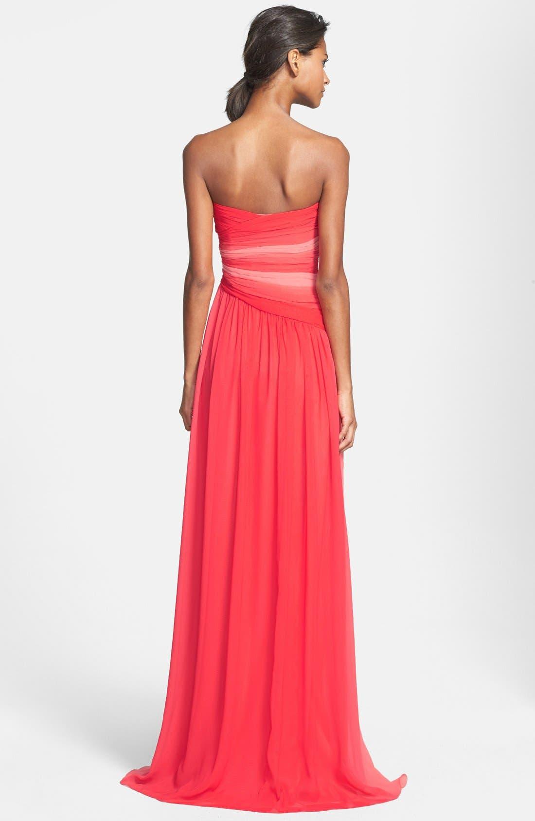 Alternate Image 2  - ML Monique Lhuillier Bridesmaids Ombré Chiffon Gown