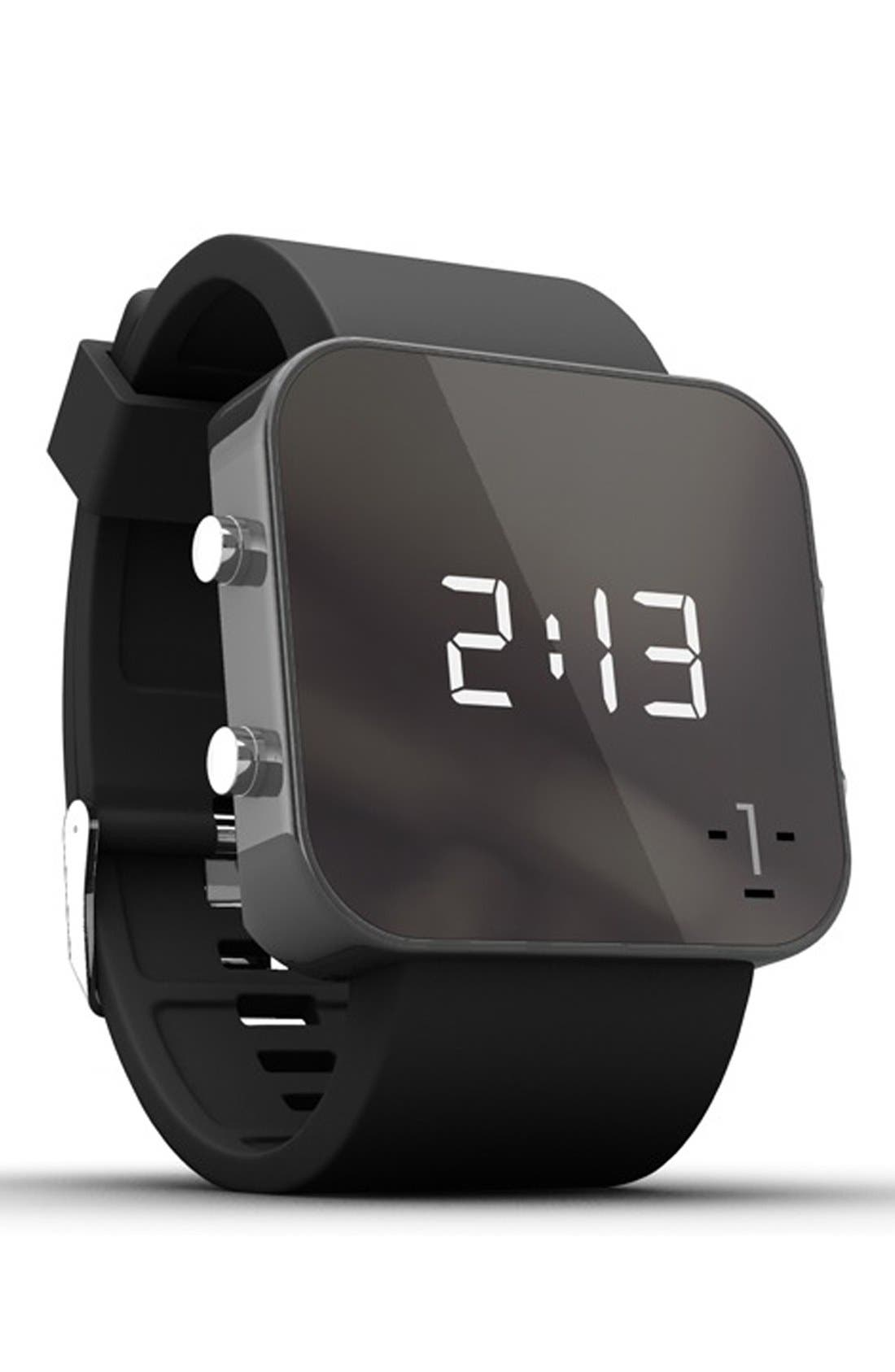 Alternate Image 2  - 1:Face 'Cancer' Square Digital Silicone Strap Watch, 38mm
